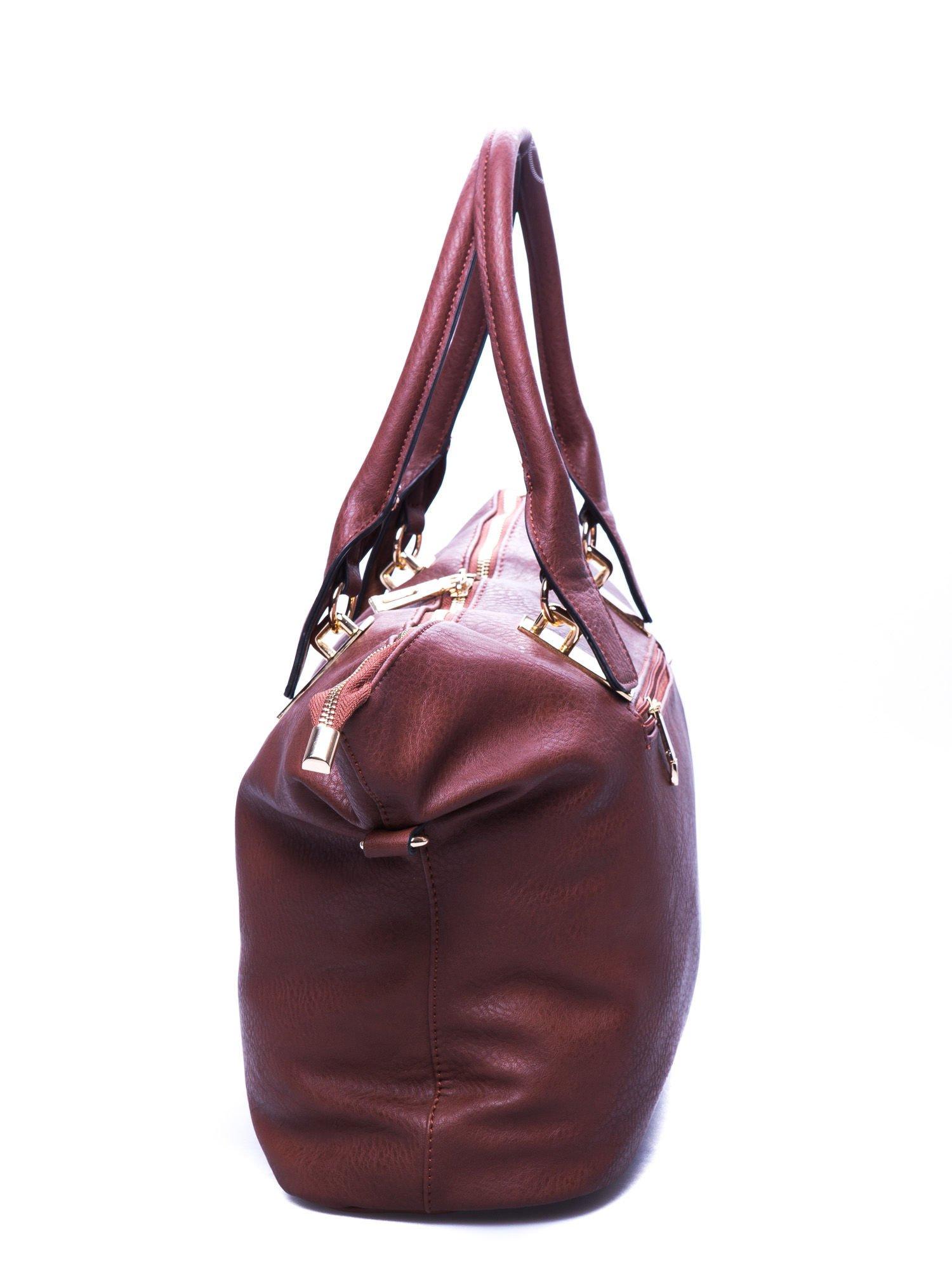 Brązowa torba shopper bag ze złotymi detalami                                  zdj.                                  2