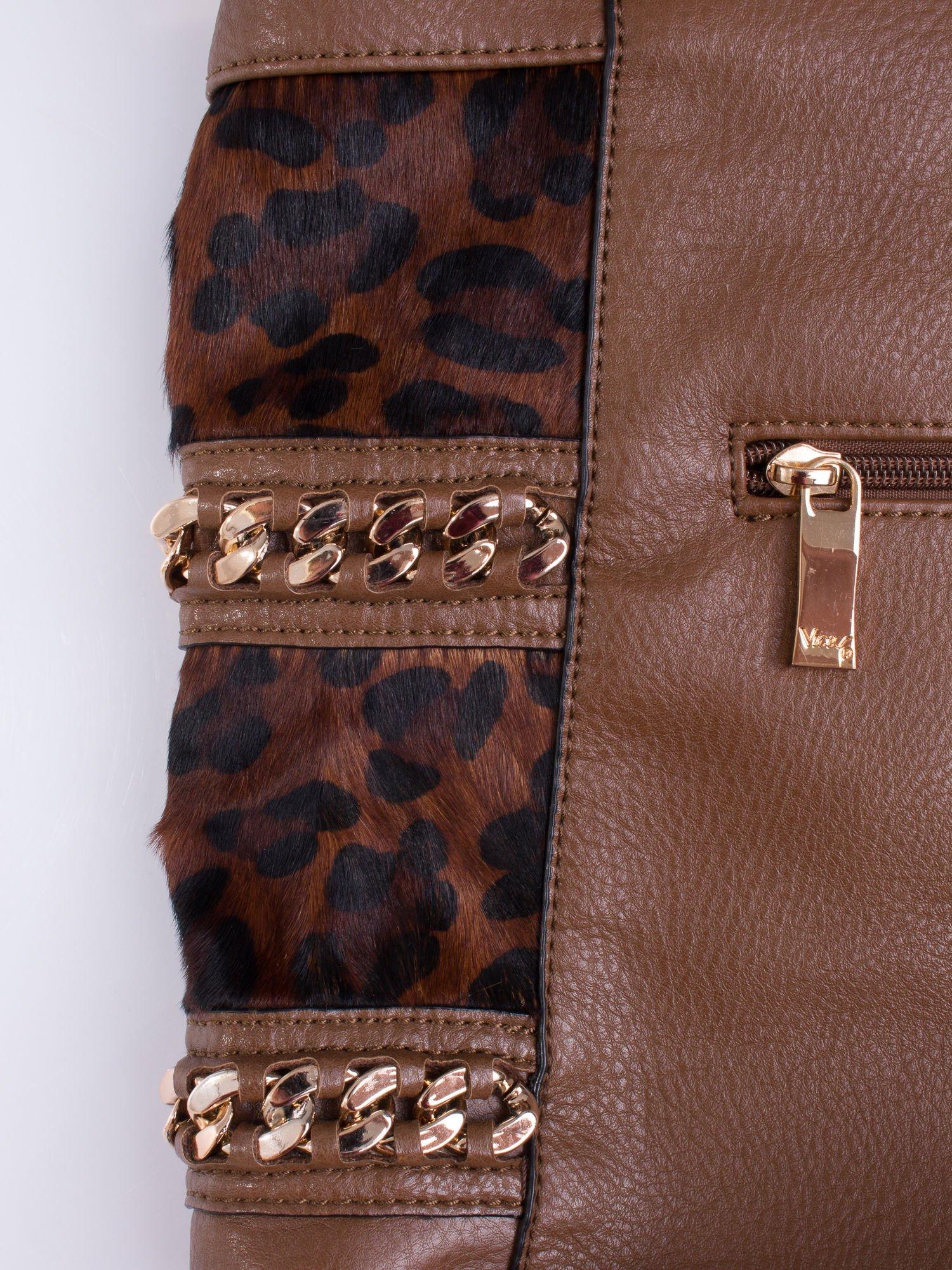 Brązowa torba z motywem panterkowym i odpinanym paskiem                                  zdj.                                  5