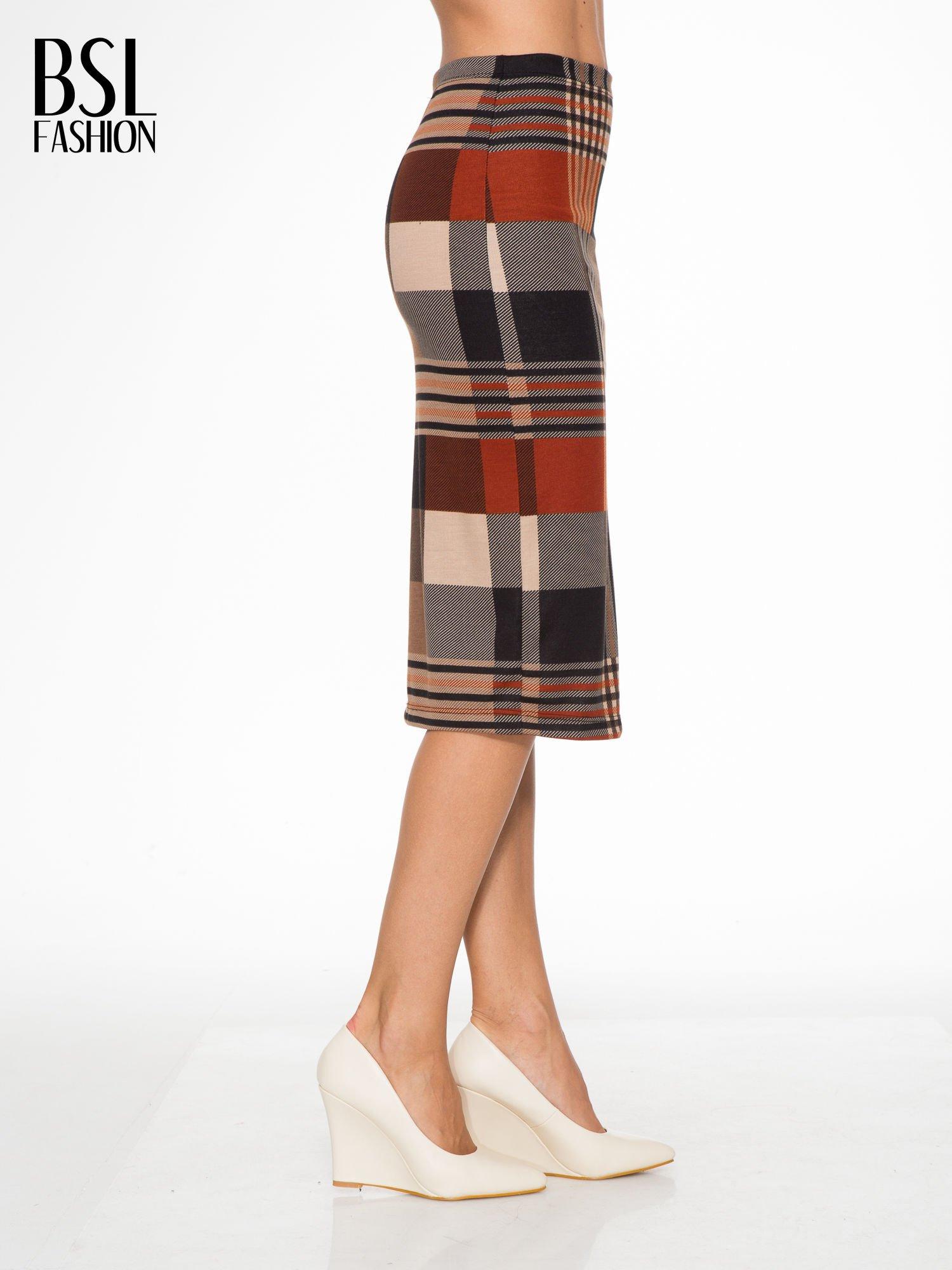 Brązowa wełniana ołówkowa spódnica w geometryczny nadruk                                  zdj.                                  3