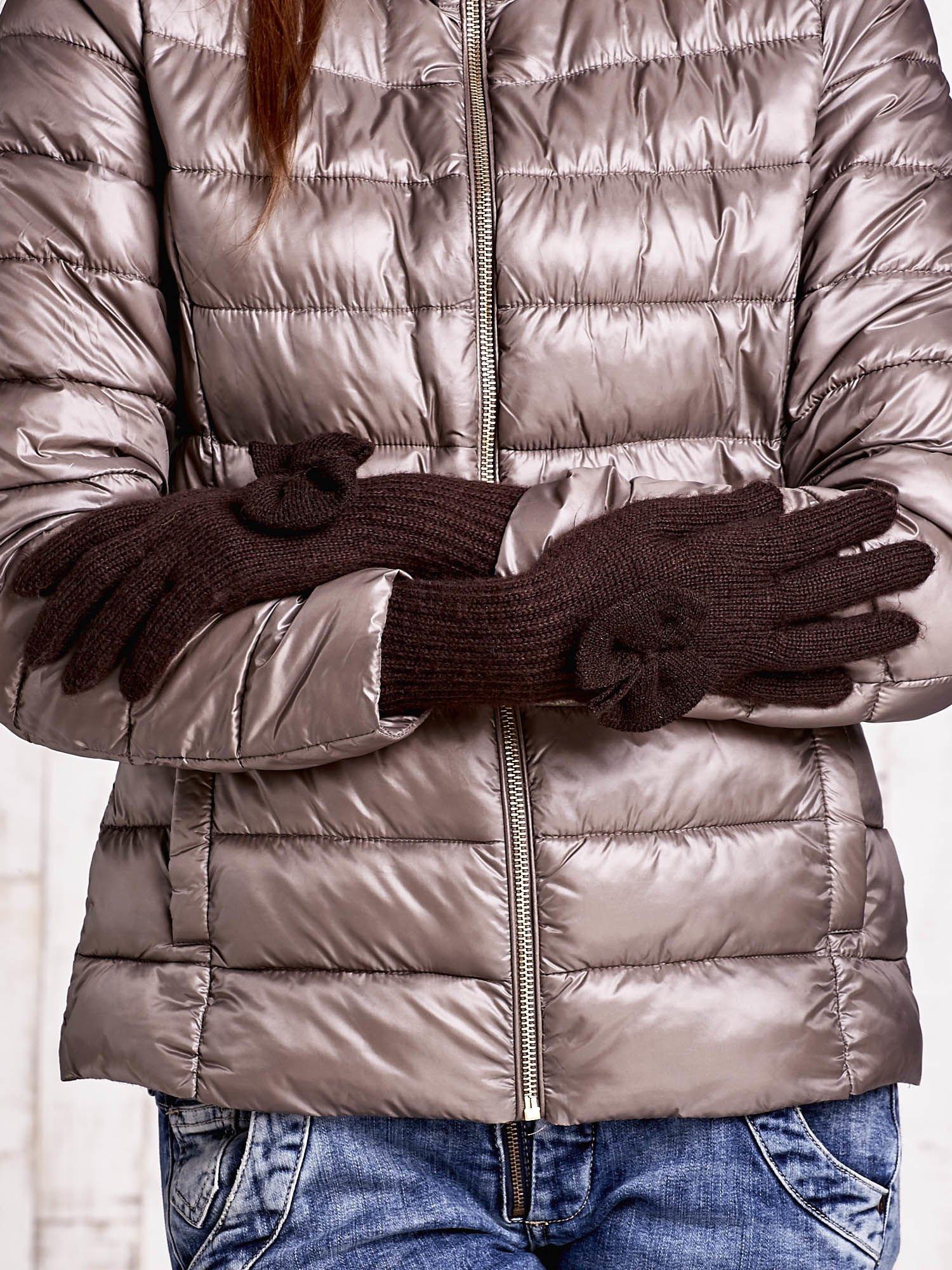 Brązowe rękawiczki z kokardką i długim ściągaczem                                  zdj.                                  2
