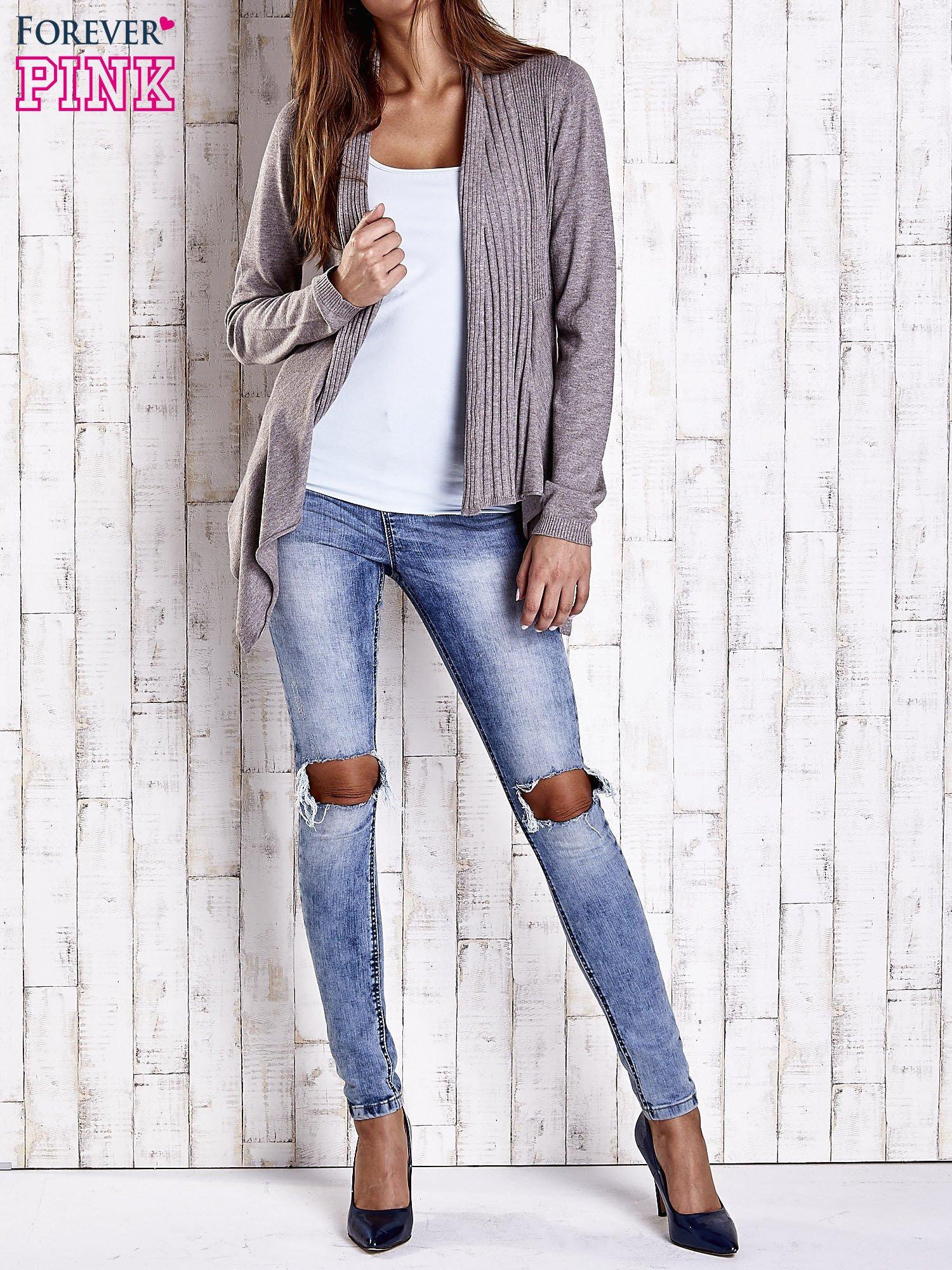 Brązowy długi sweter z wykończeniem w prążki                                  zdj.                                  2