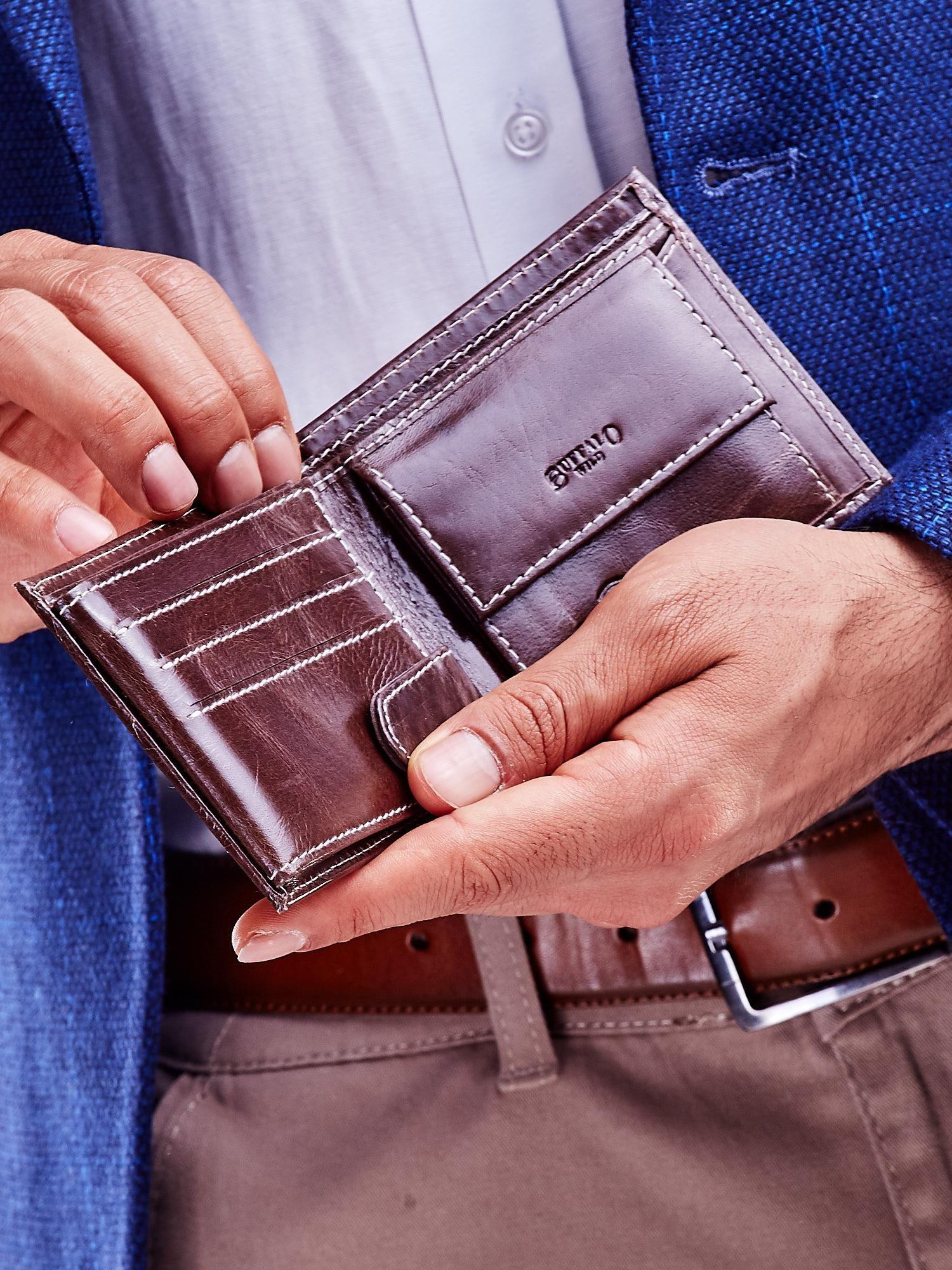 5f144f94 Brązowy skórzany portfel męski - Mężczyźni portfel męski - sklep ...