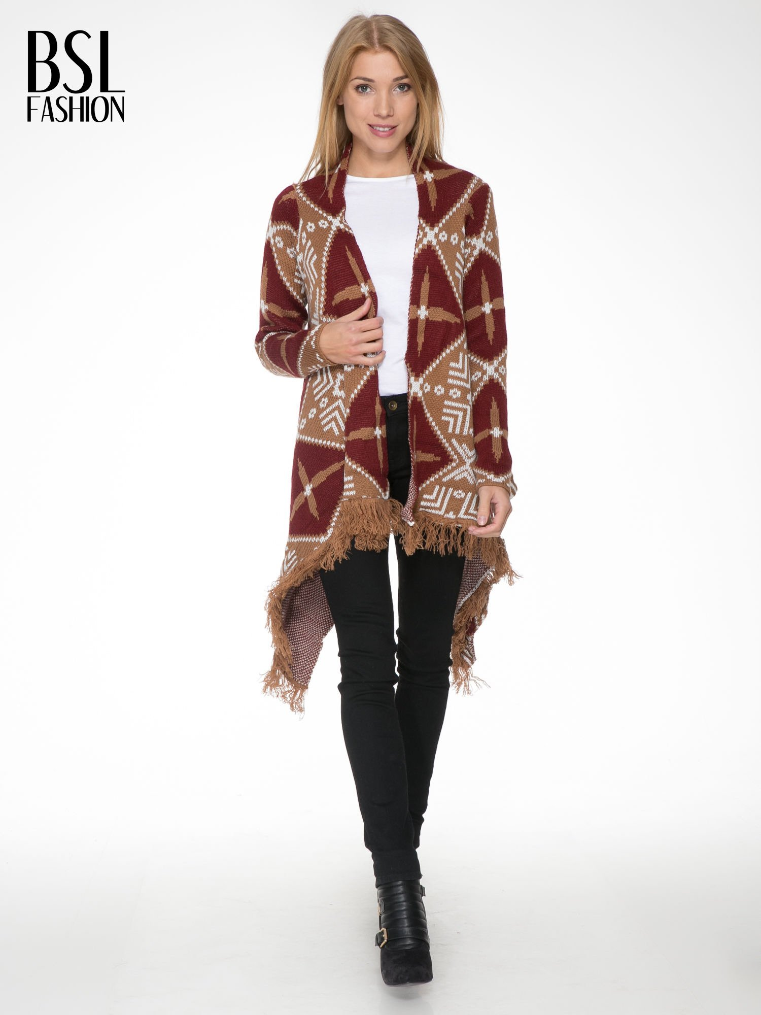 Brązowy sweter narzutka w azteckie wzory z frędzlami                                  zdj.                                  2