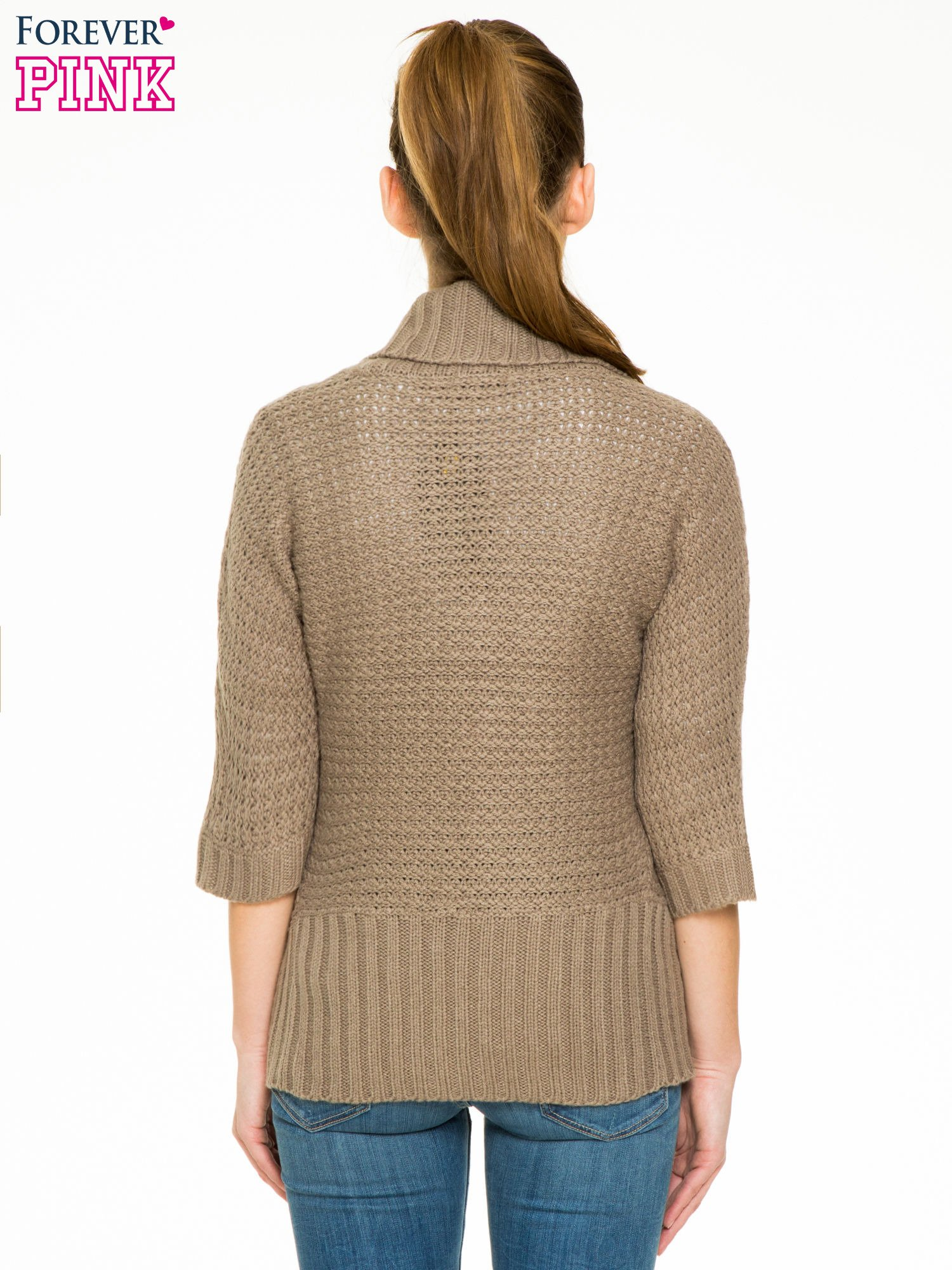Brązowy sweter narzutka z rękawem 3/4                                  zdj.                                  4
