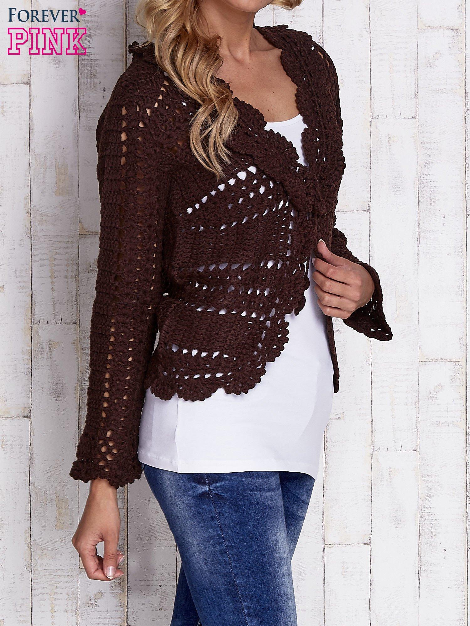 Brązowy sweter z wiązaniem                                  zdj.                                  3