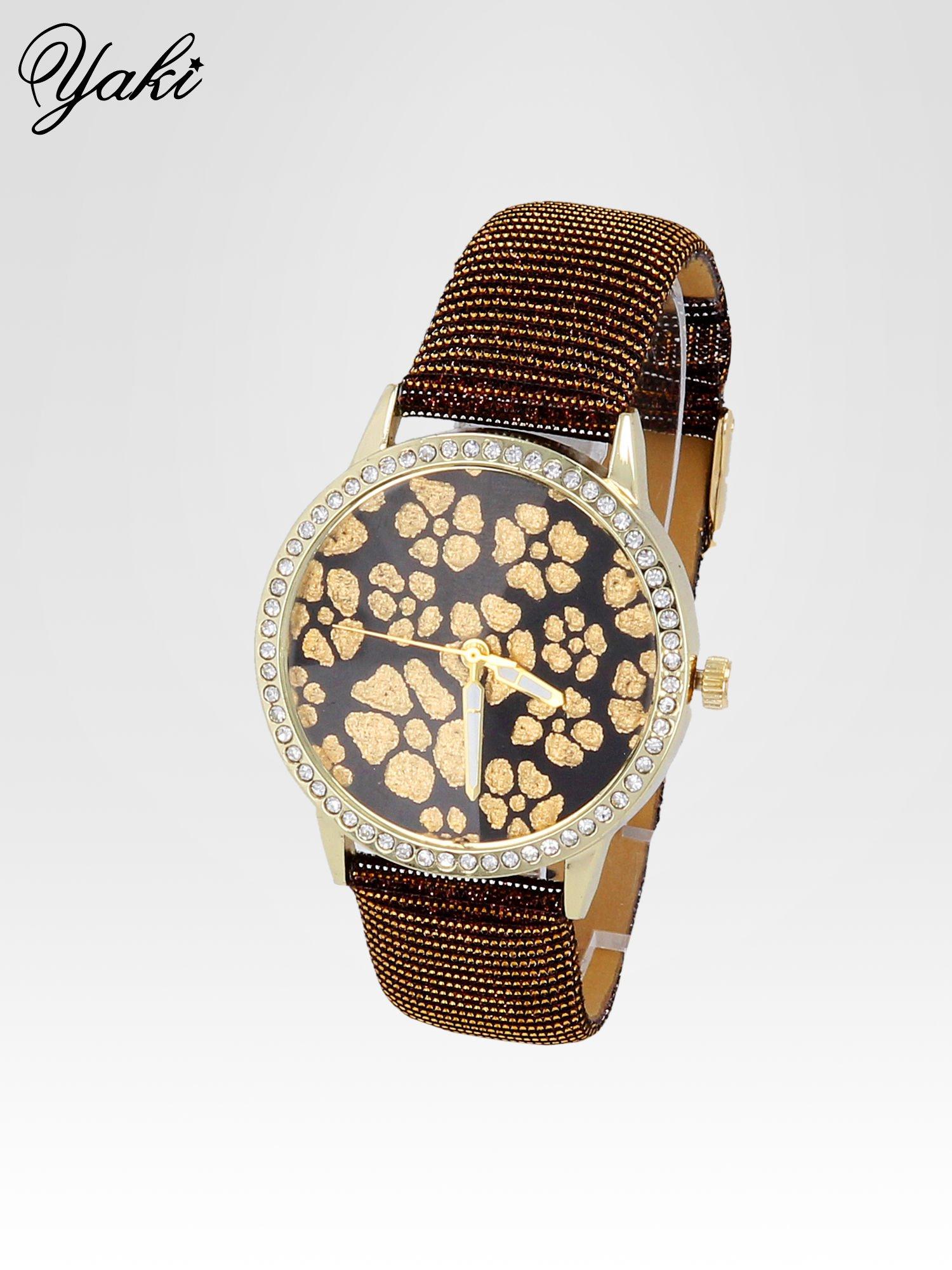 Brązowy zegarek damski na błyszczącym paski z cyrkoniami na kopercie                                  zdj.                                  2