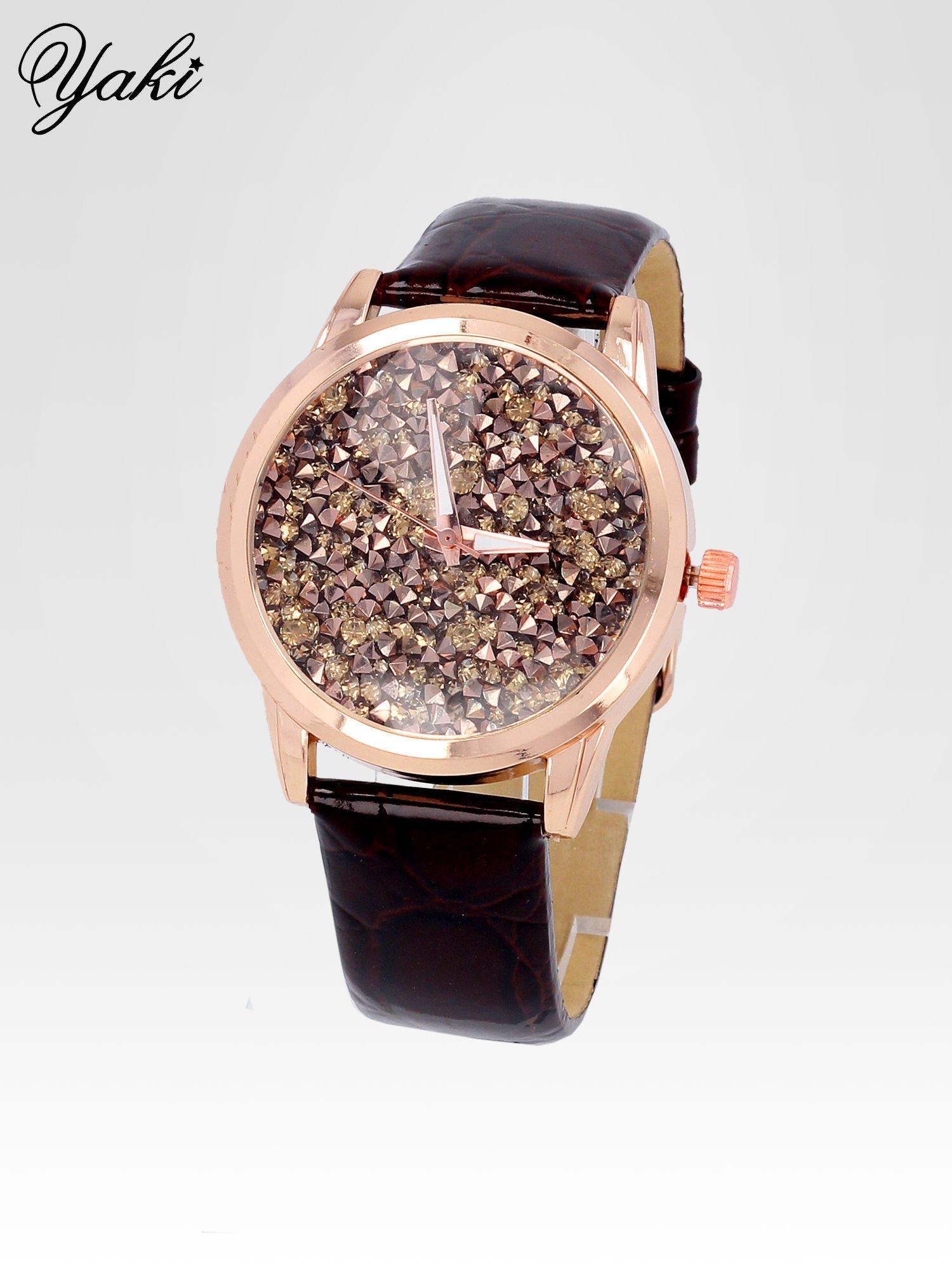 Brązowy zegarek damski na pasku z tarczą glitter                                  zdj.                                  2