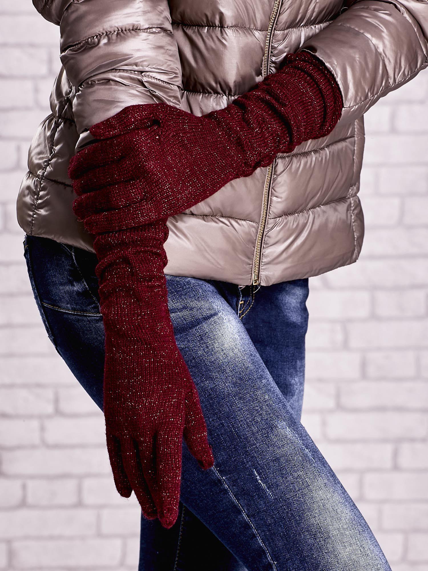 Burgundowe długie rękawiczki z metalizowaną nicią                                   zdj.                                  3