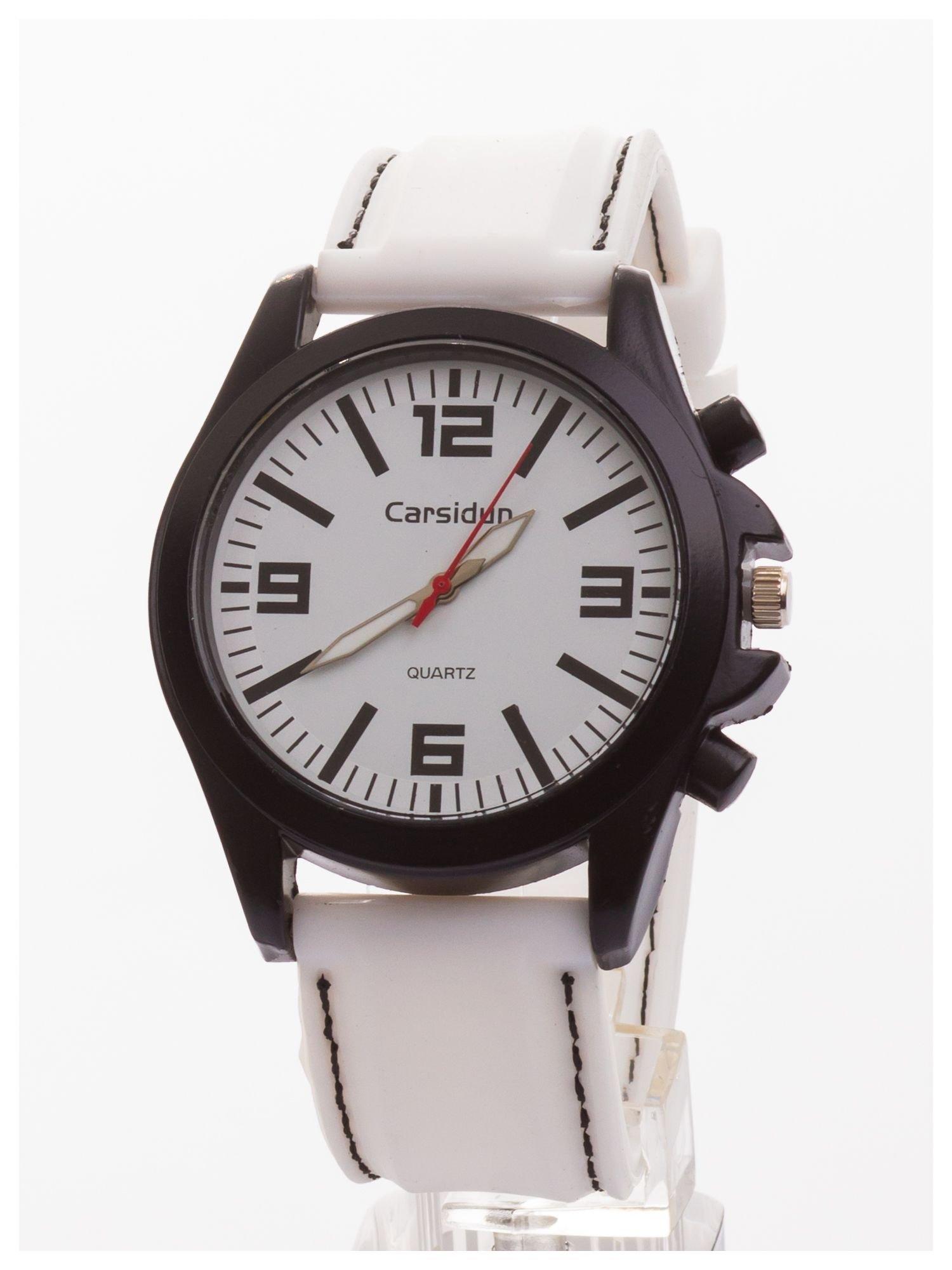 CARSIDUN Biały męski zegarek. Bardzo wygodny z silikonowym paskiem.                                  zdj.                                  1