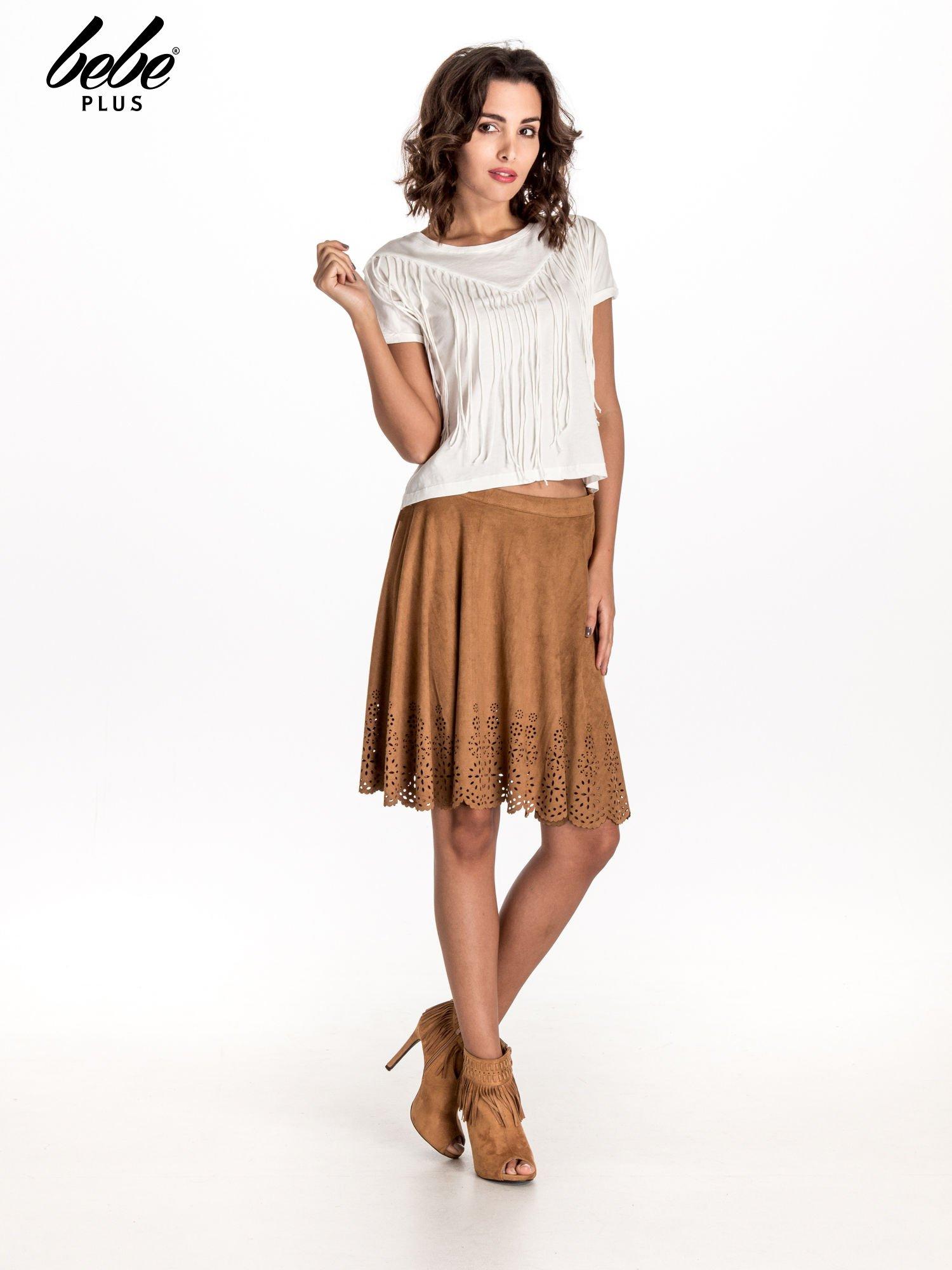 Camelowa zamszowa spódnica w stylu boho                                  zdj.                                  9