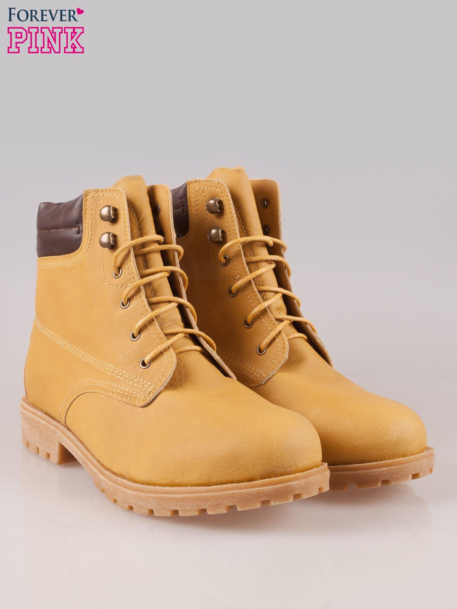 Camelowe buty trekkingowe damskie typu traperki                                  zdj.                                  2