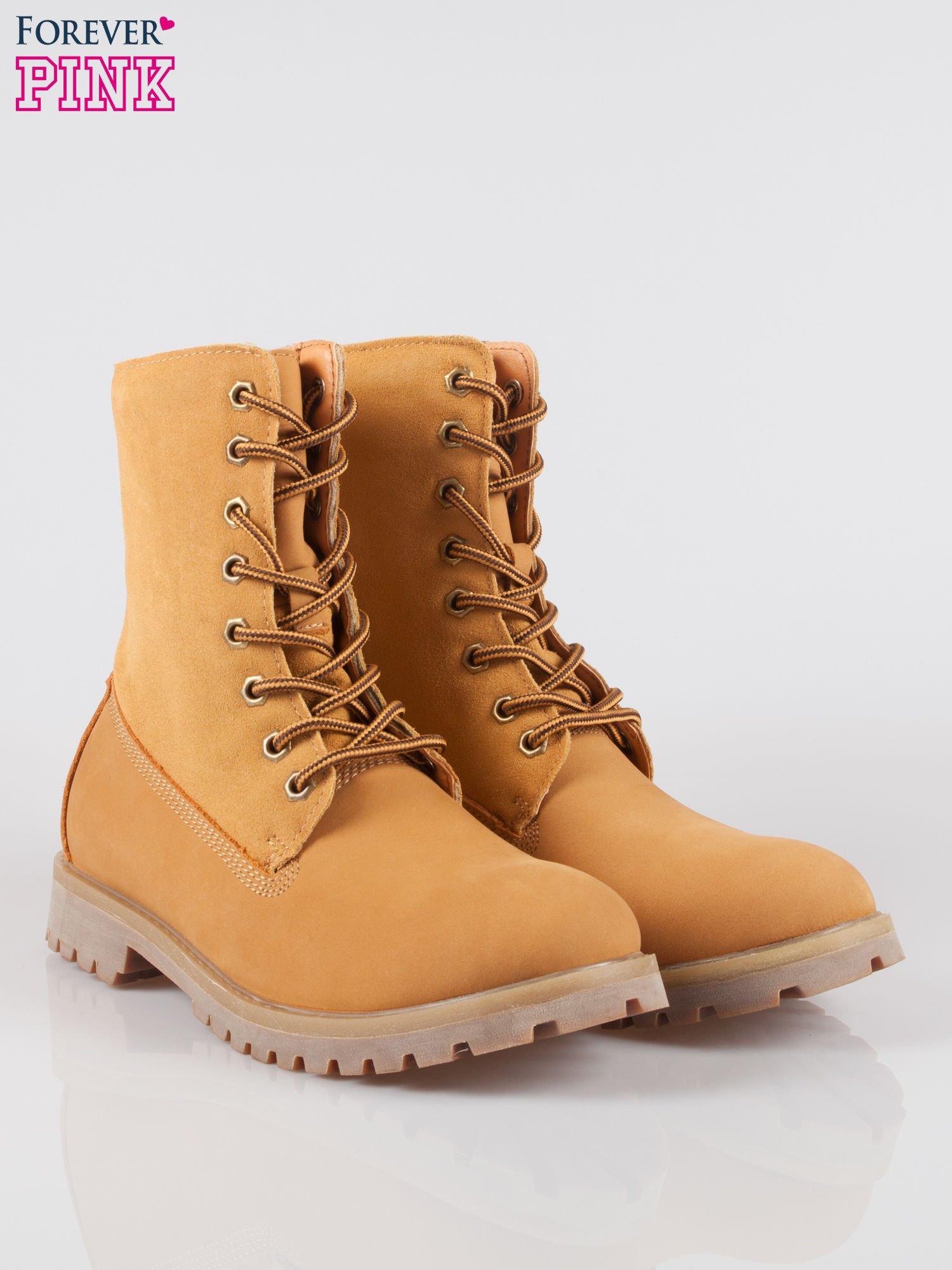 Camelowe wysokie buty trekkingowe traperki damskie ze skóry naturalnej                                  zdj.                                  2