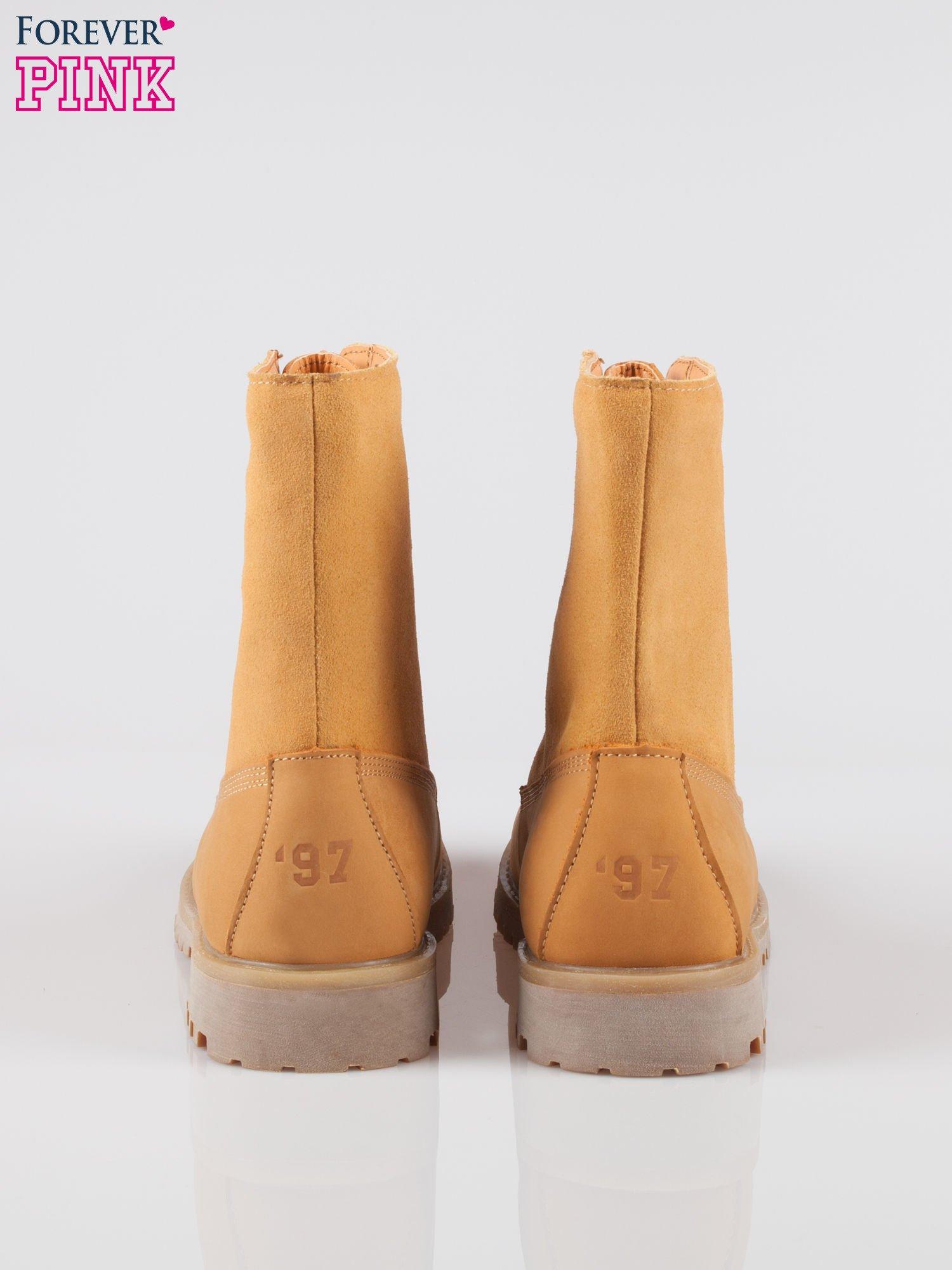 Camelowe wysokie buty trekkingowe traperki damskie ze skóry naturalnej                                  zdj.                                  3
