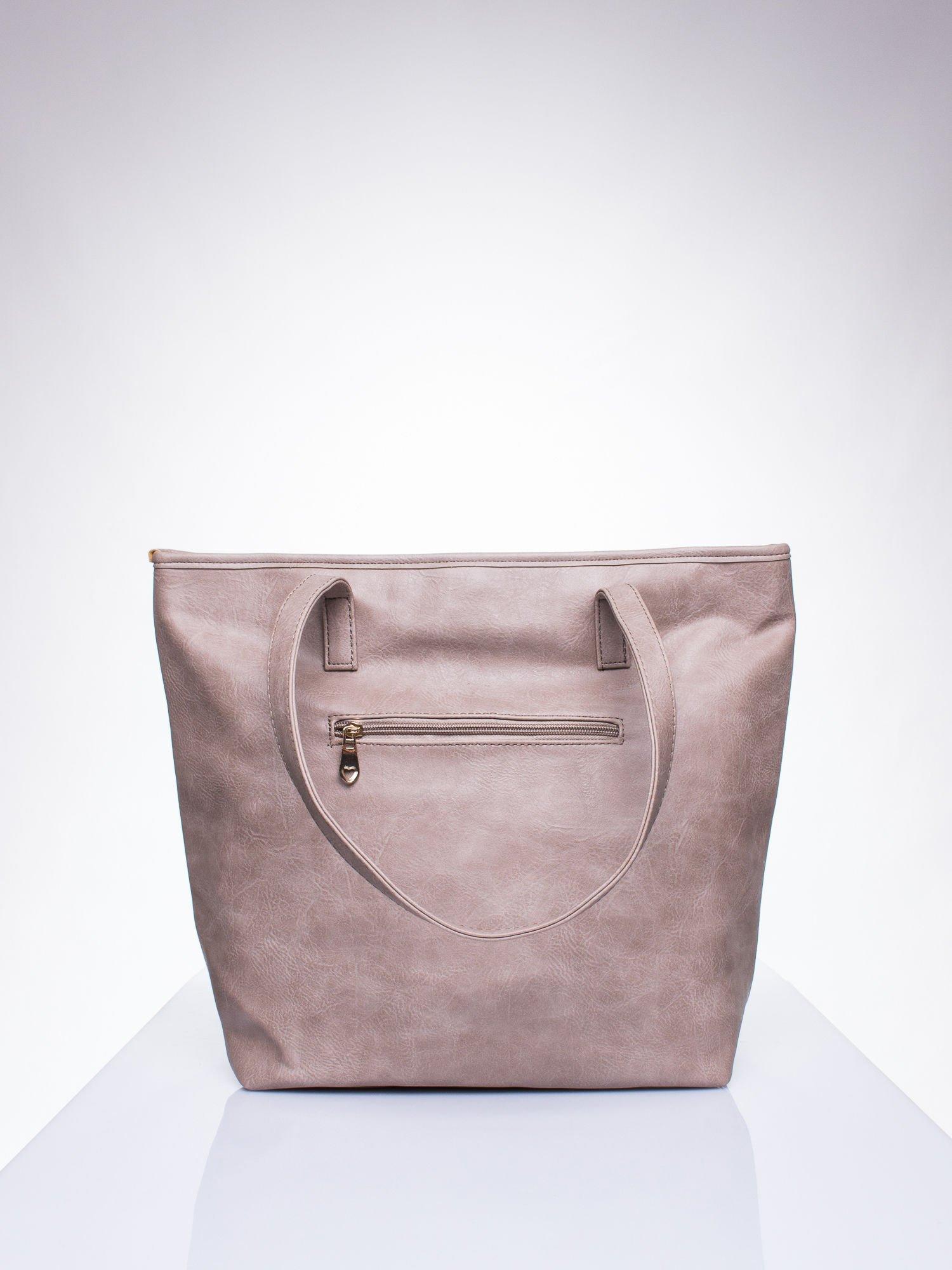 Ciemnobeżowa prosta torba shopper bag ze złotymi okuciami                                  zdj.                                  3
