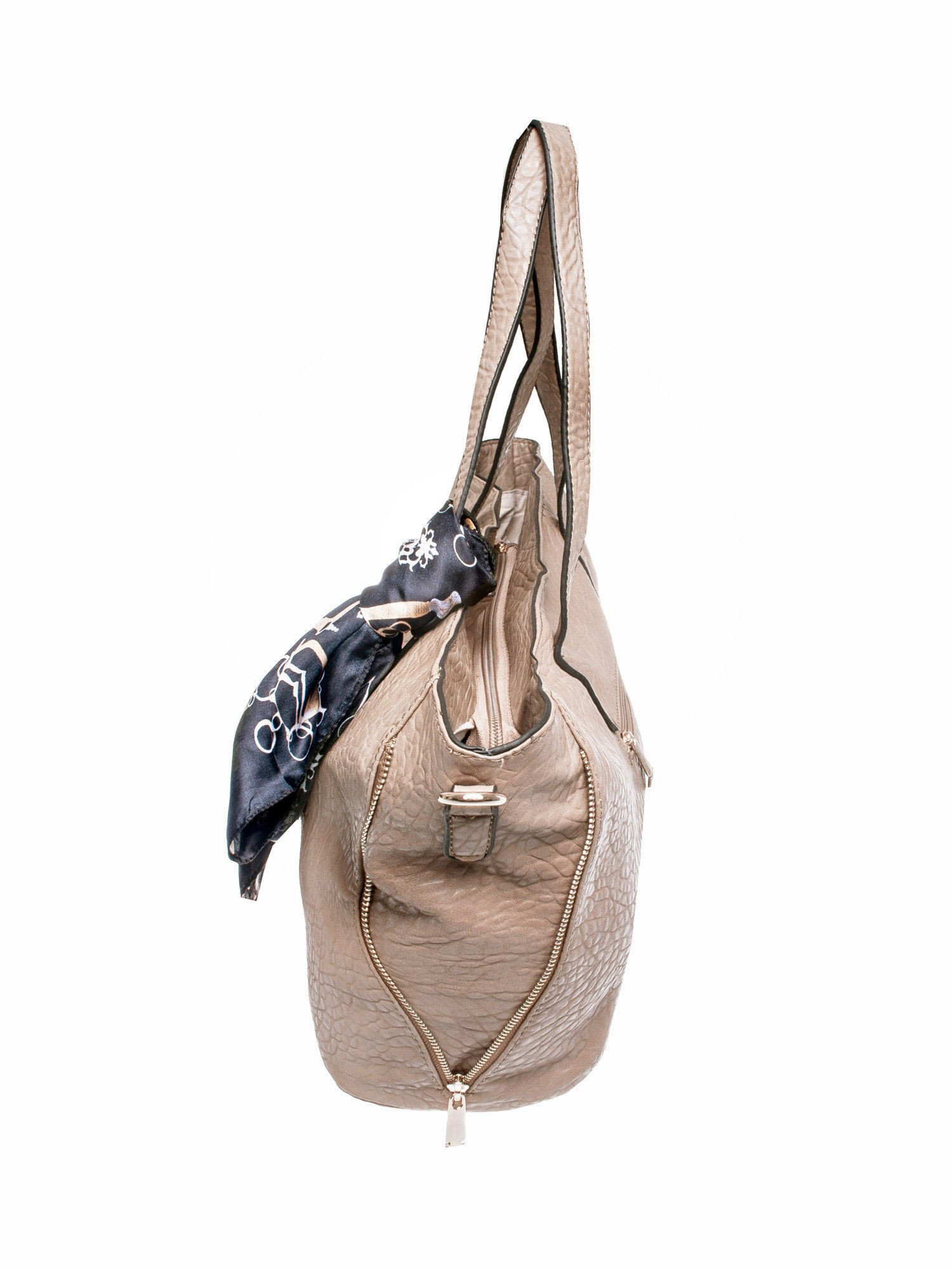 Ciemnobeżowa torebka shopper bag z apaszką                                  zdj.                                  3