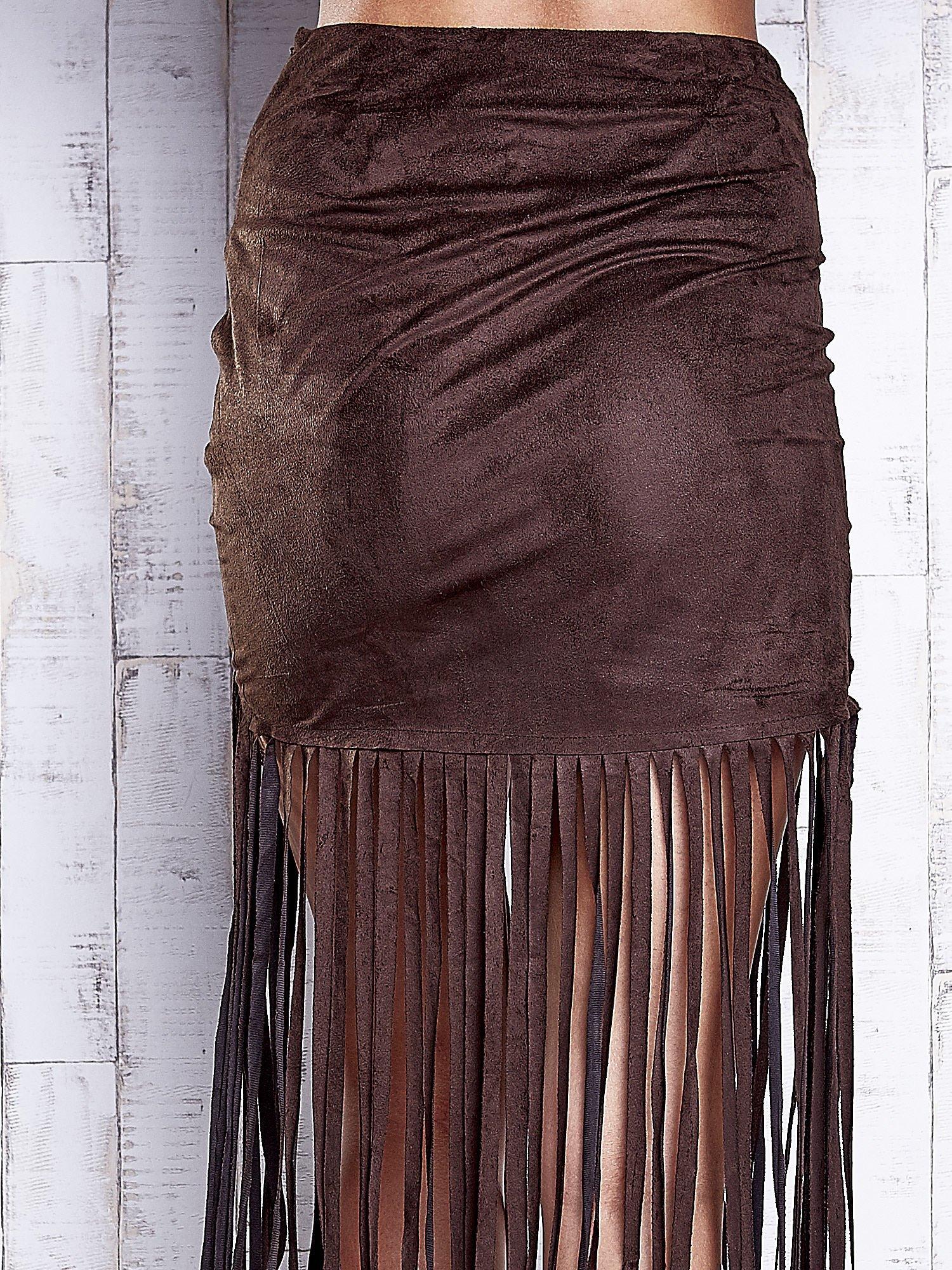 Ciemnobrązowa zamszowa spódnica z frędzlami                                  zdj.                                  7