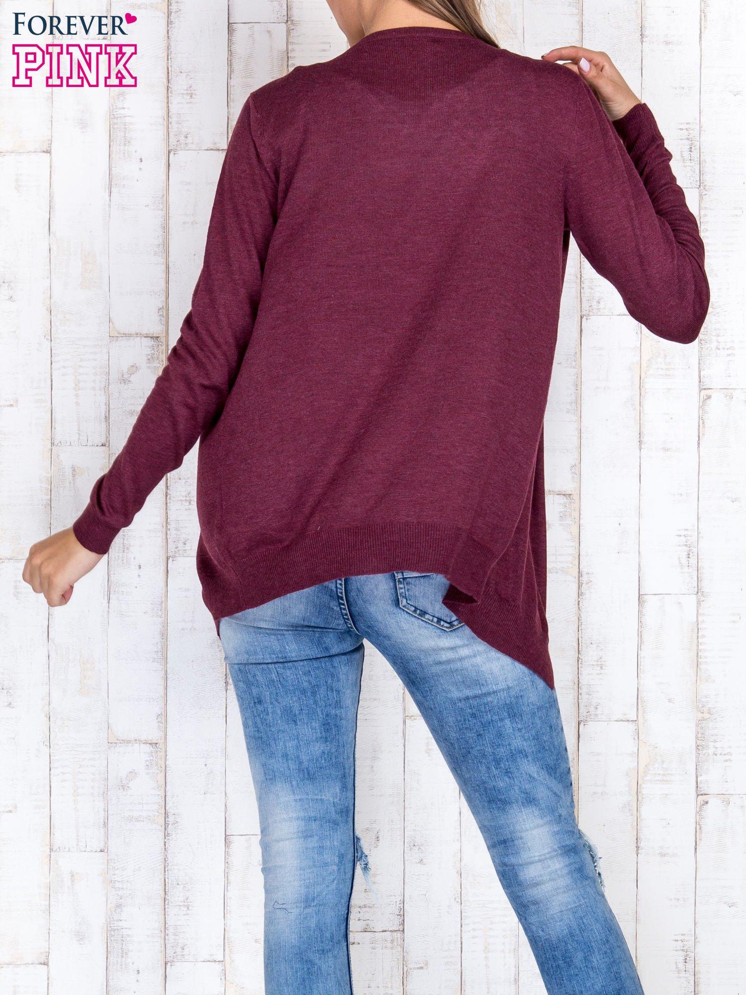 Ciemnoczerwony niezapinany sweter z melanżowym efektem                                  zdj.                                  4