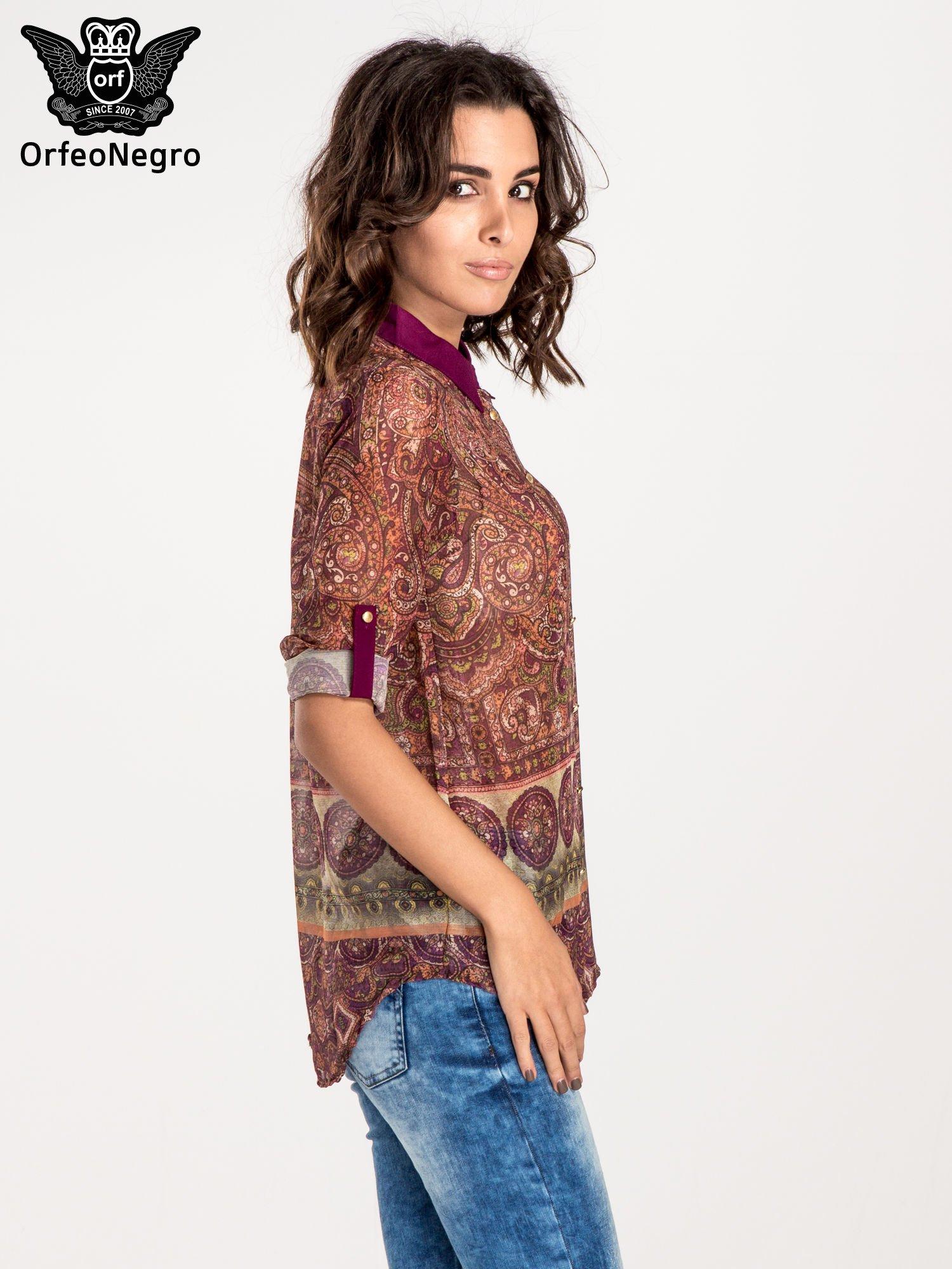 Ciemnofioletowa koszula w witrażowy wzór                                  zdj.                                  5