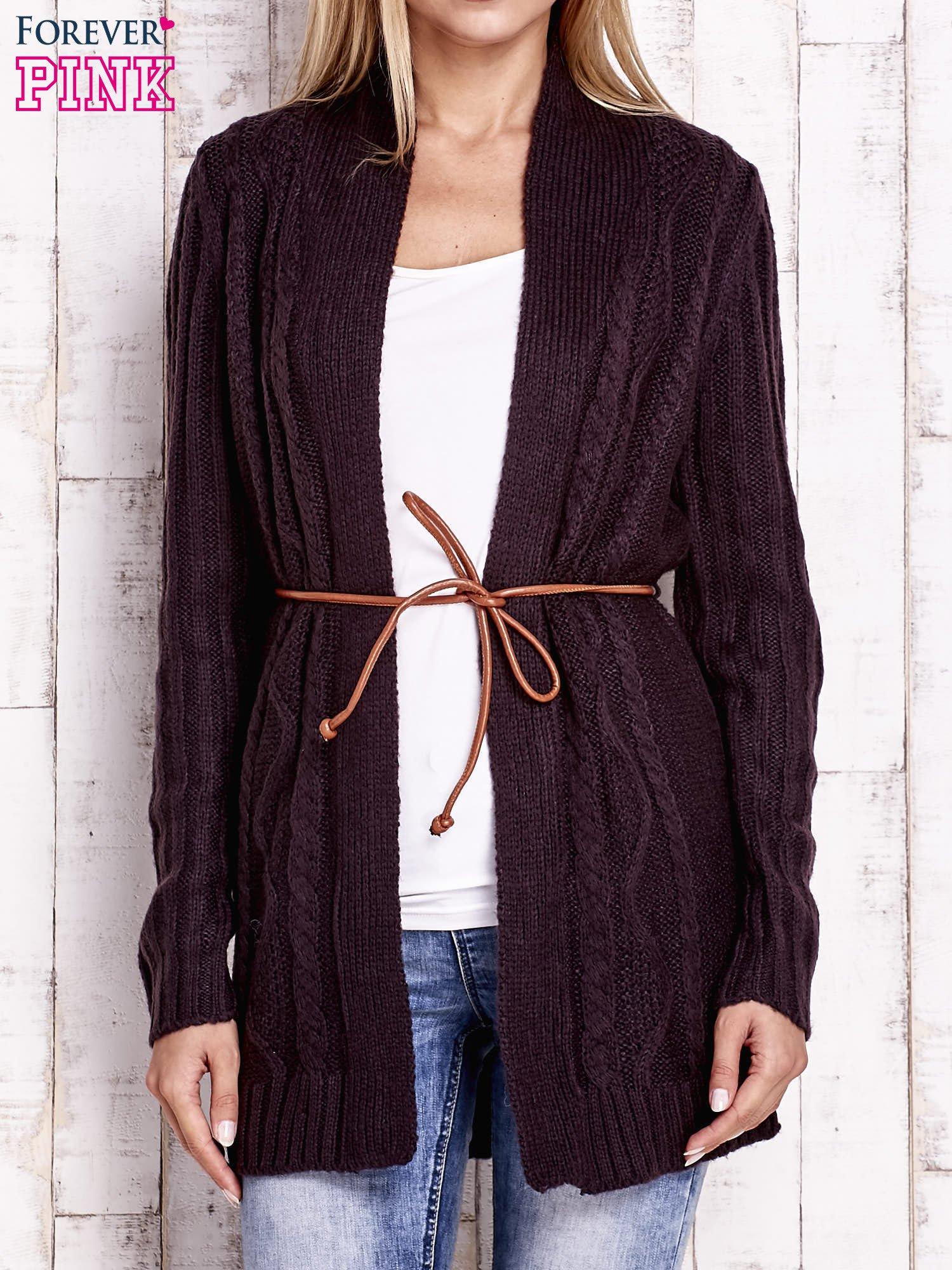 Ciemnofioletowy dzianinowy sweter z wiązaniem                                  zdj.                                  1