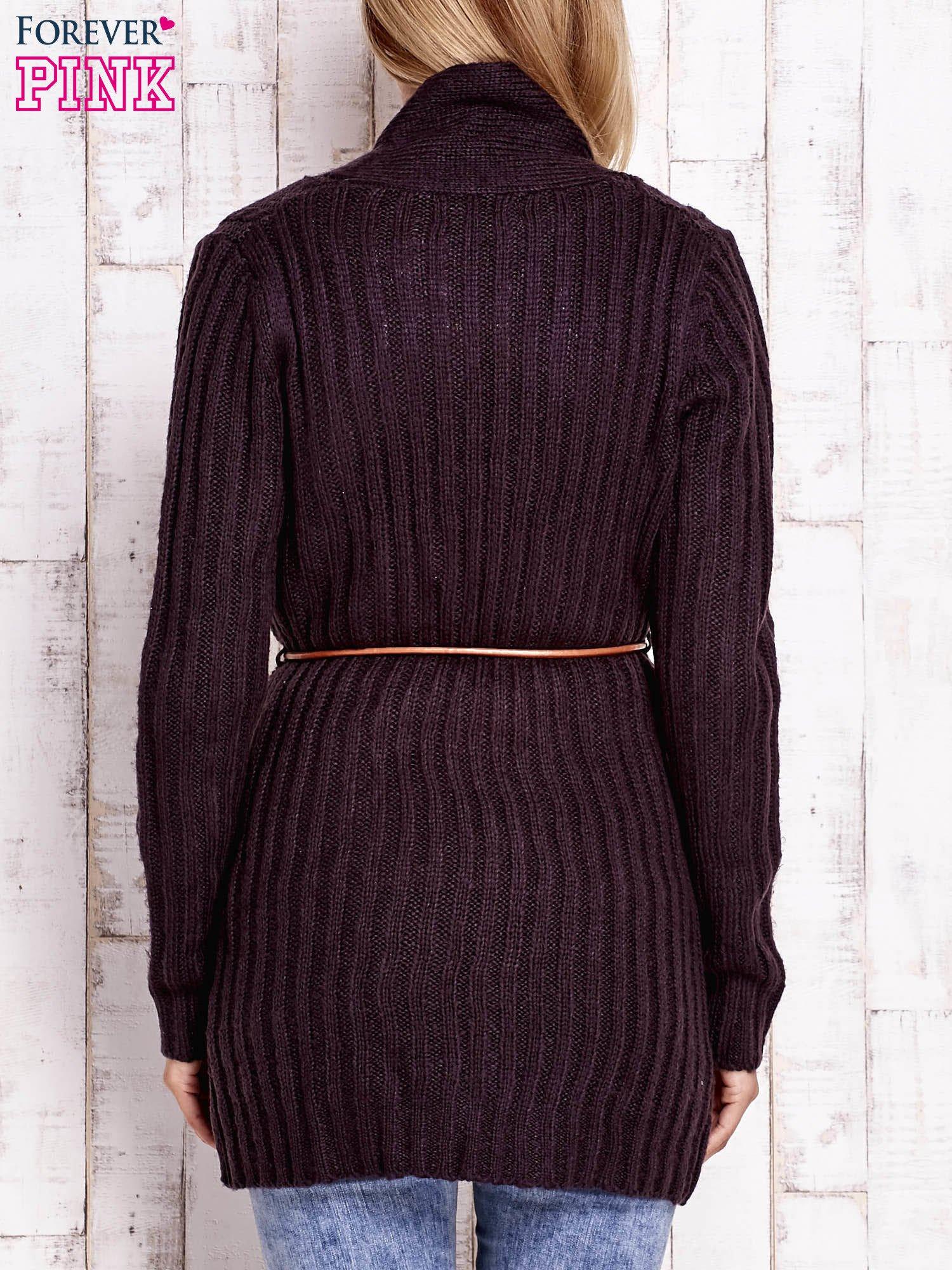 Ciemnofioletowy dzianinowy sweter z wiązaniem                                  zdj.                                  4