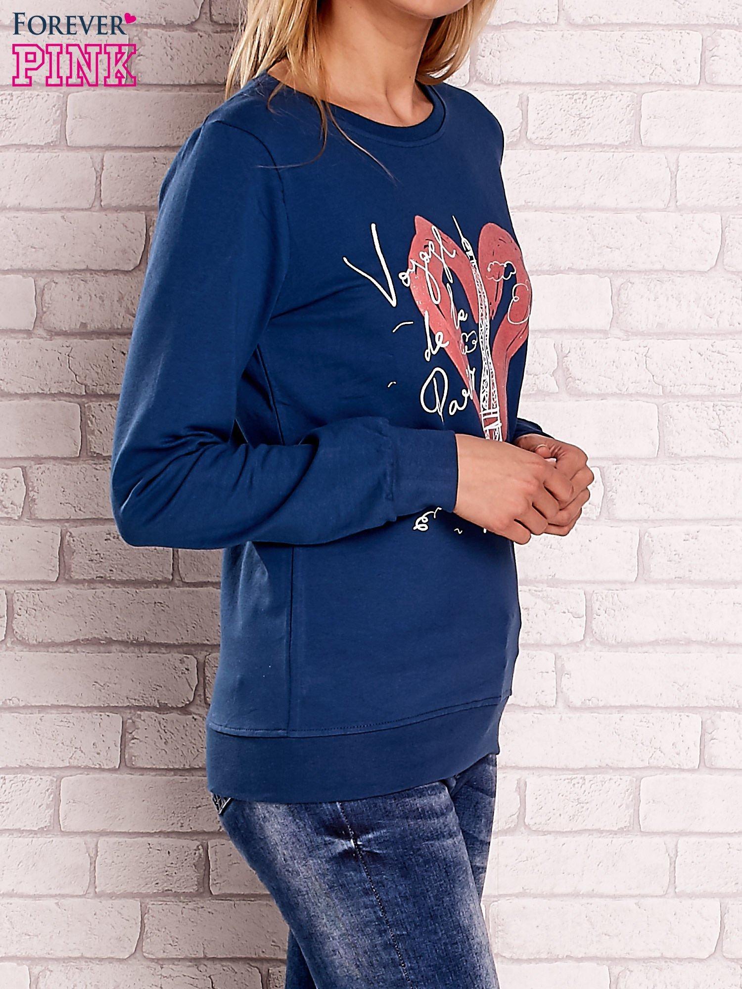 Ciemnoniebieska bluza z motywem paryskim                                  zdj.                                  3