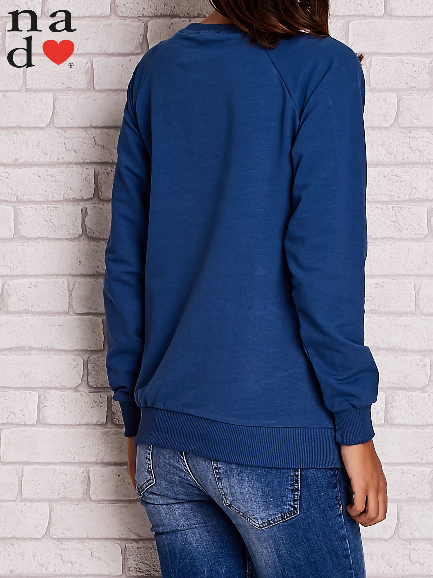 Ciemnoniebieska bluza z serduszkami                                  zdj.                                  4