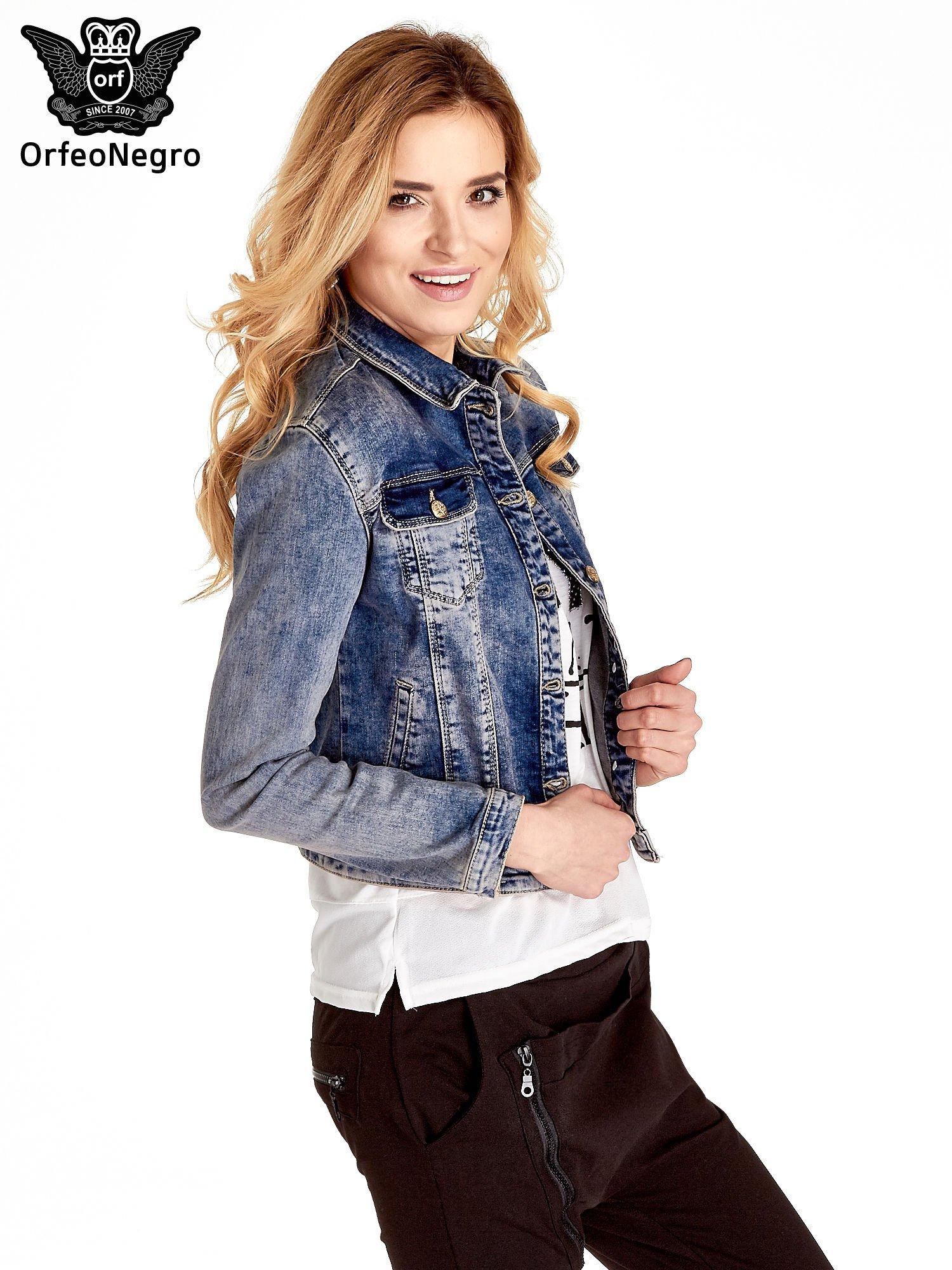 Ciemnoniebieska klasyczna kurtka jeansowa damska                                  zdj.                                  3