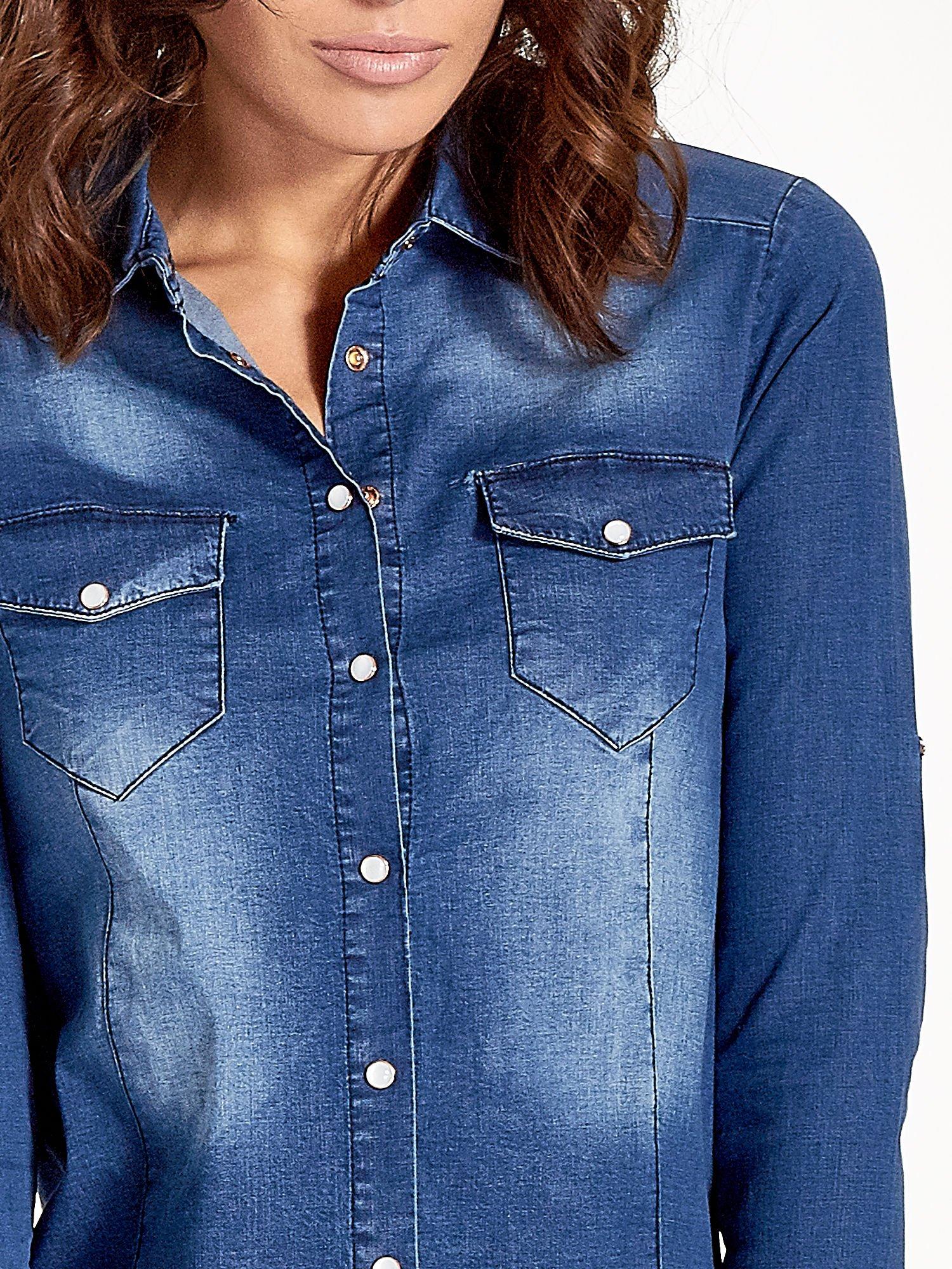 Ciemnoniebieska koszula jeansowa z cieniowaniem                                  zdj.                                  4