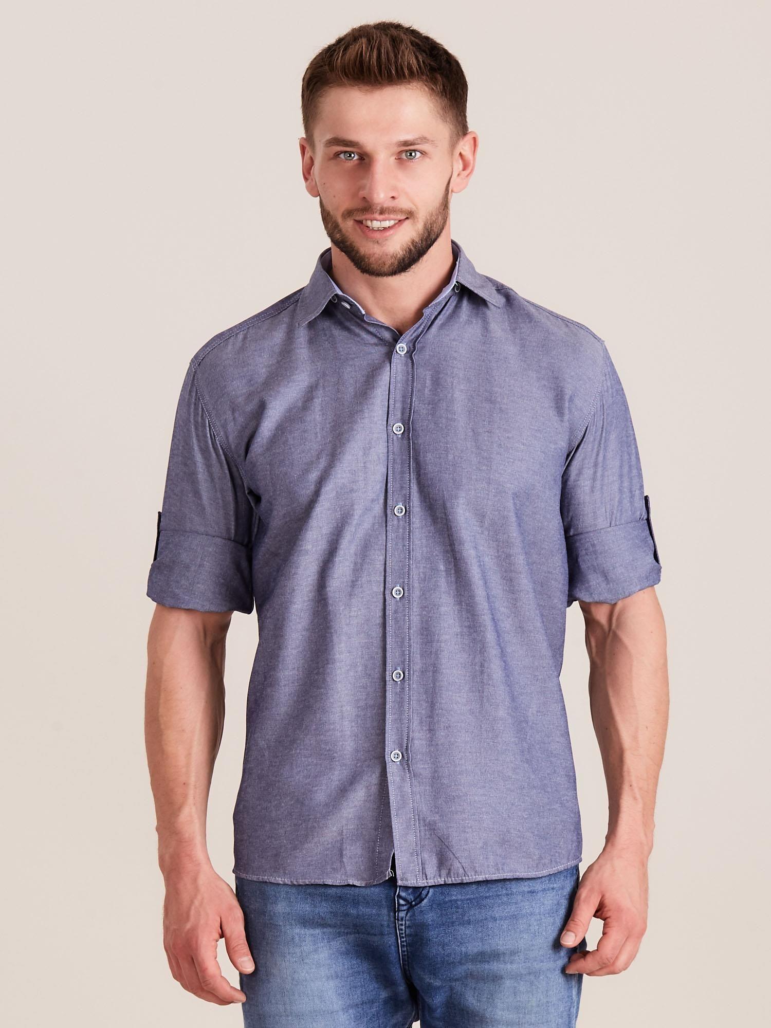 1d09ed32c8068c Ciemnoniebieska koszula męska o regularnym kroju - Mężczyźni koszula ...