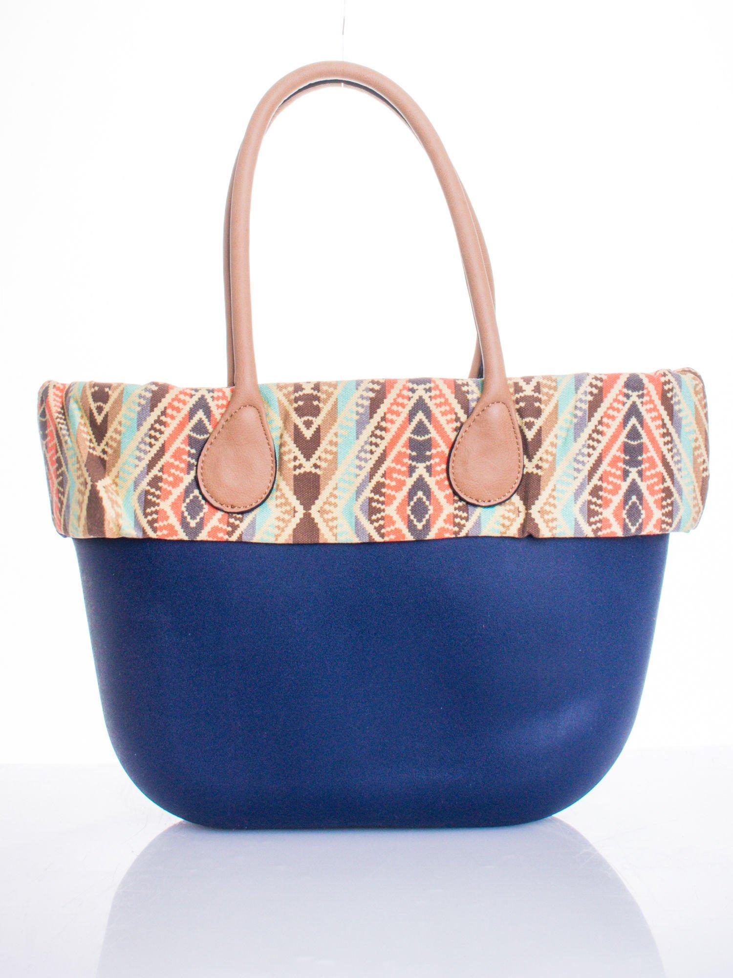 Ciemnoniebieska torba gumowa z motywem azteckim                                  zdj.                                  1
