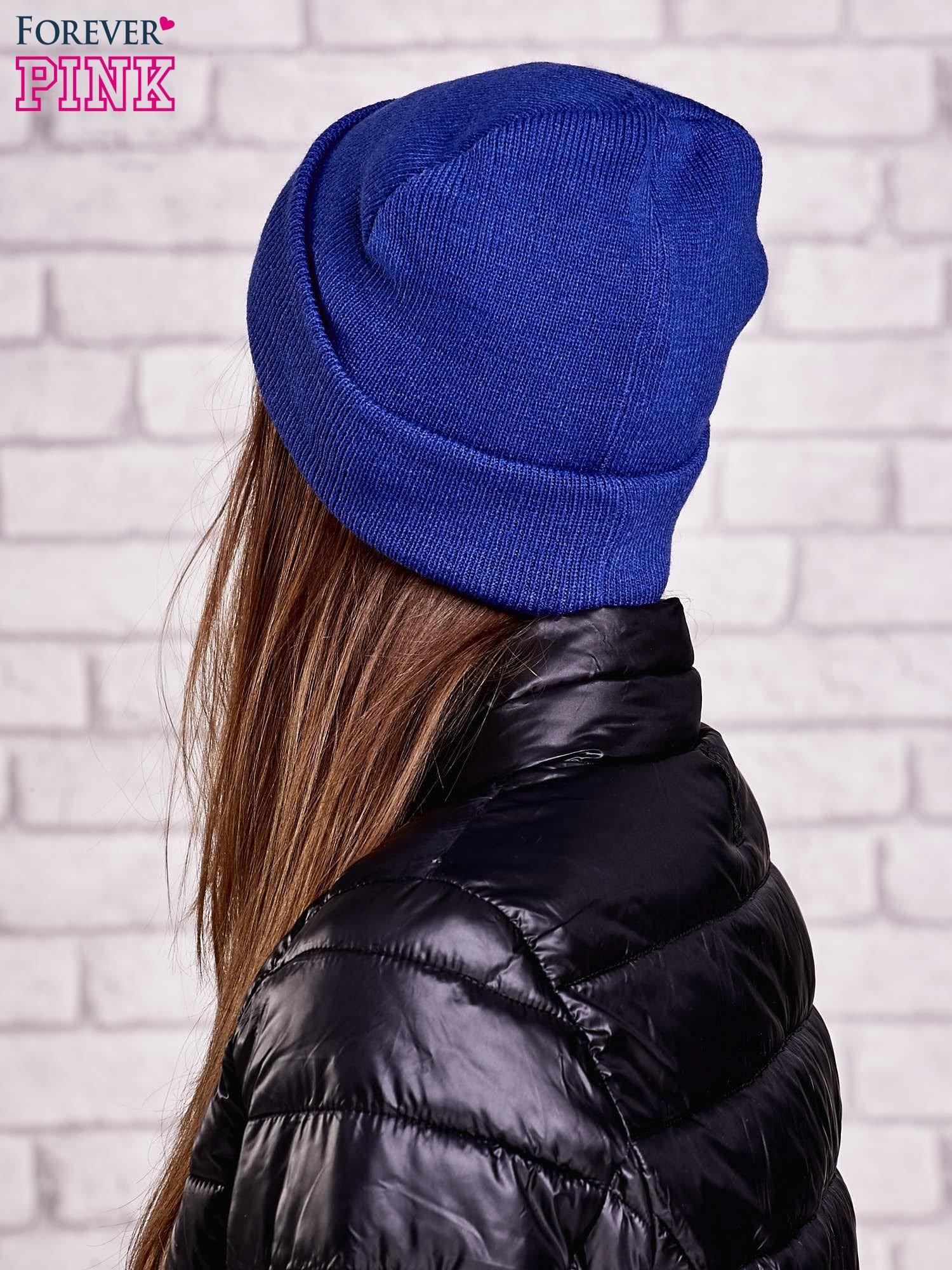 Ciemnoniebieska wywijana czapka z napisem ABLE                                  zdj.                                  2