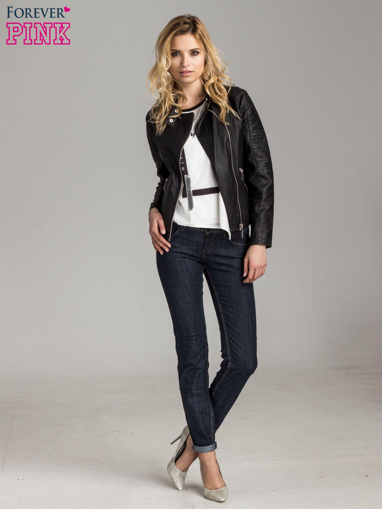 Ciemnoniebieskie klasyczne spodnie jeansowe rurki                                  zdj.                                  4