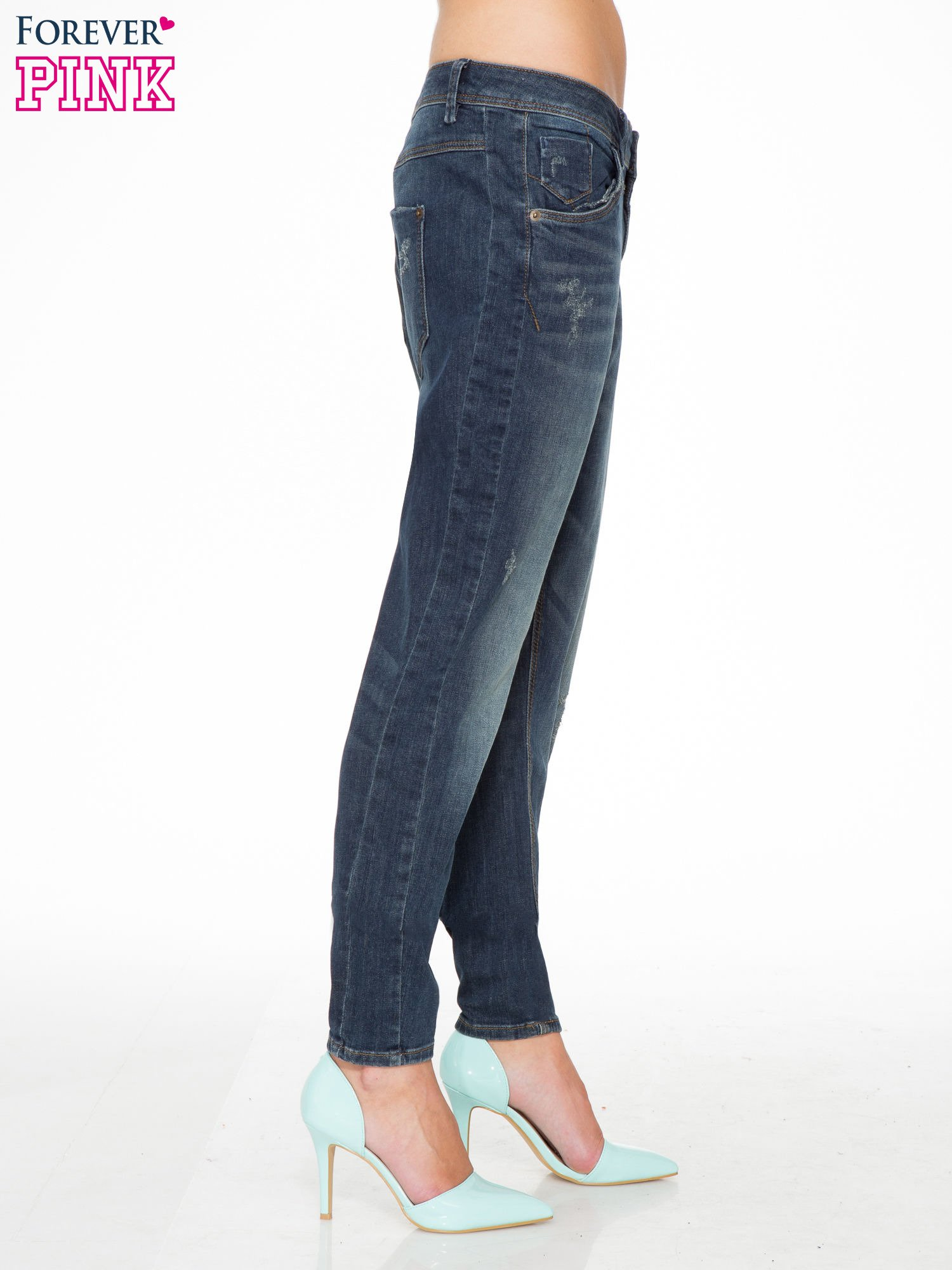 Ciemnoniebieskie spodnie typu boyfriend jeans z przetarciami                                  zdj.                                  3