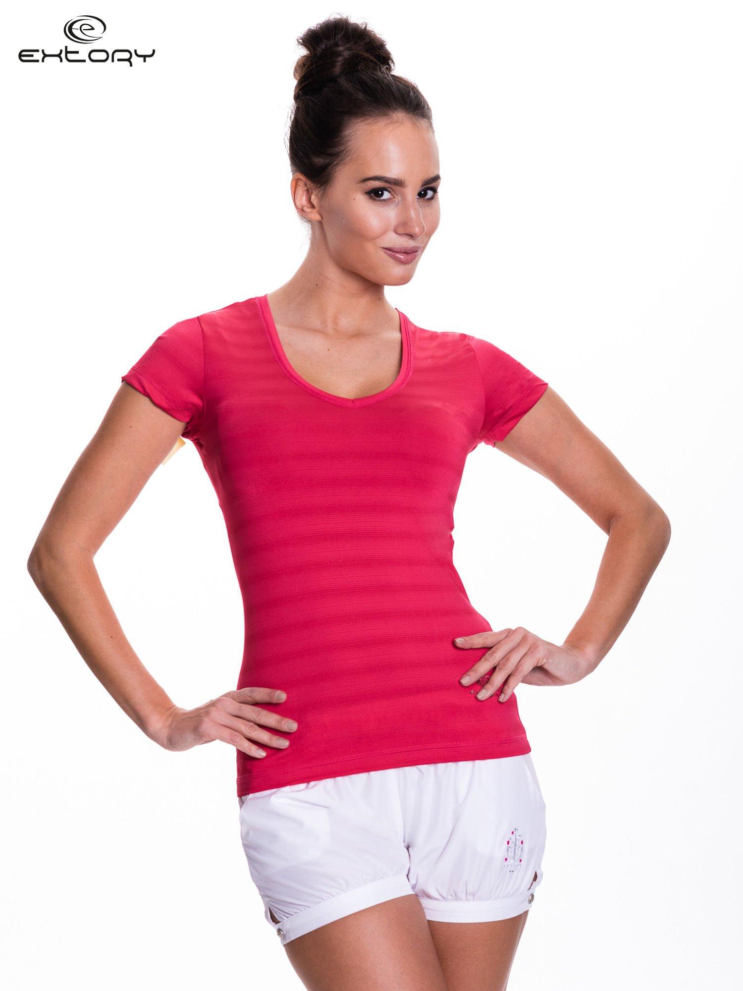 Ciemnoróżowy t-shirt sportowy w paseczki                                  zdj.                                  1
