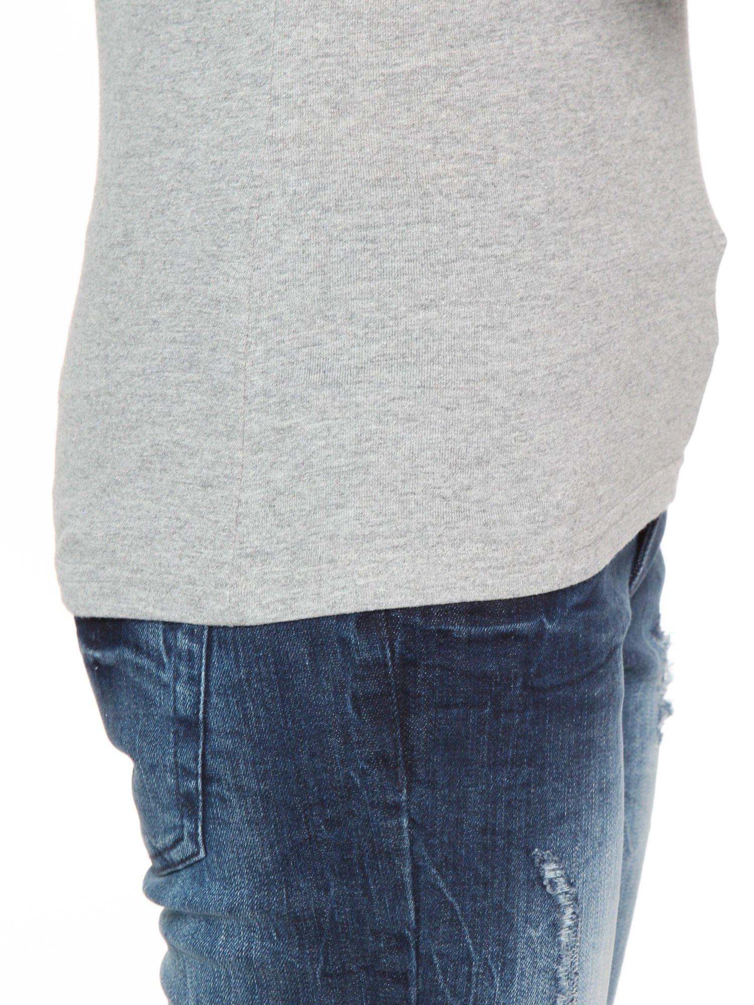 Ciemnoszara bawełniana bluzka typu basic z długim rękawem                                  zdj.                                  8