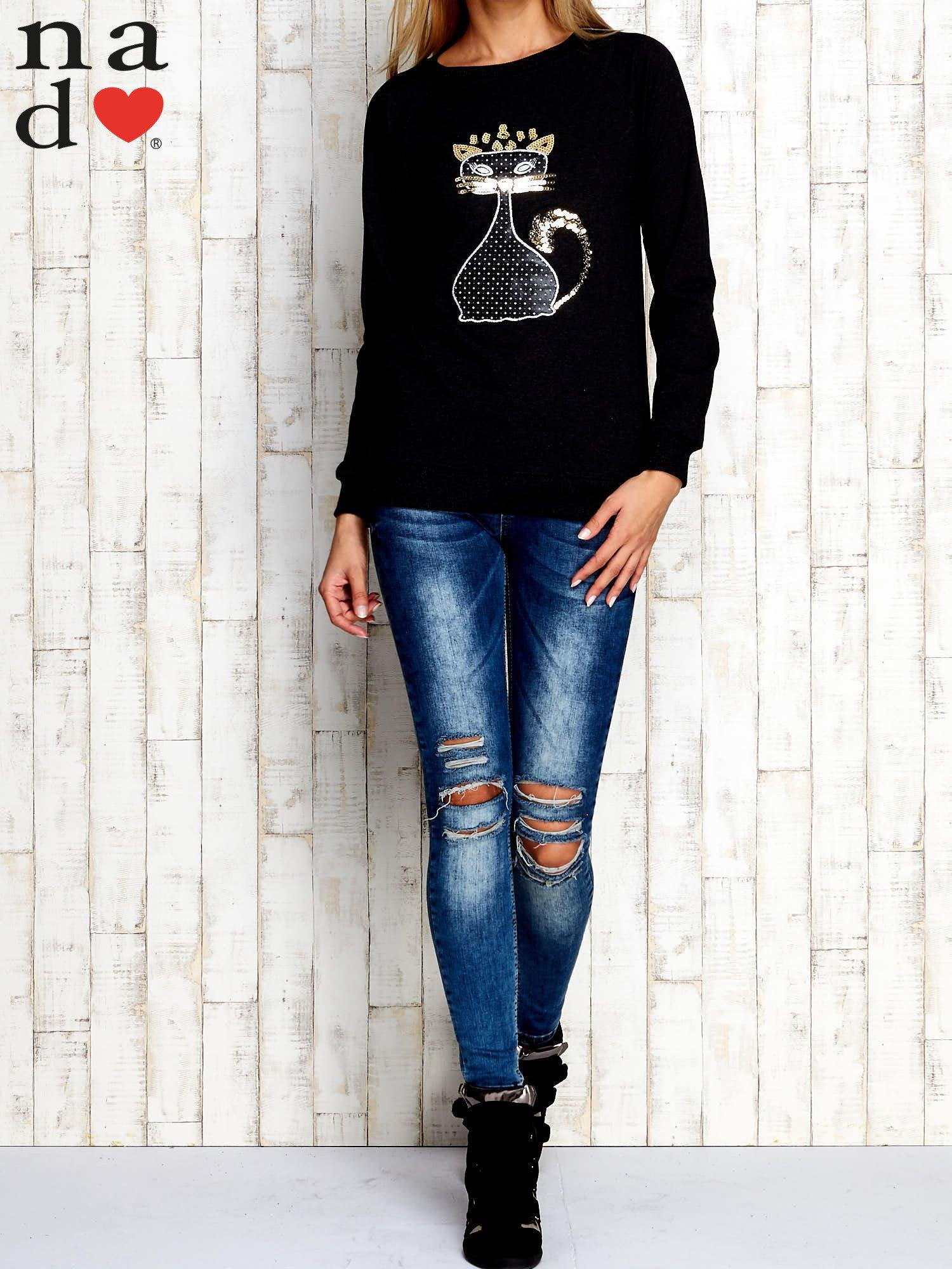 Ciemnoszara bluza z cekinowym kotem                                  zdj.                                  2