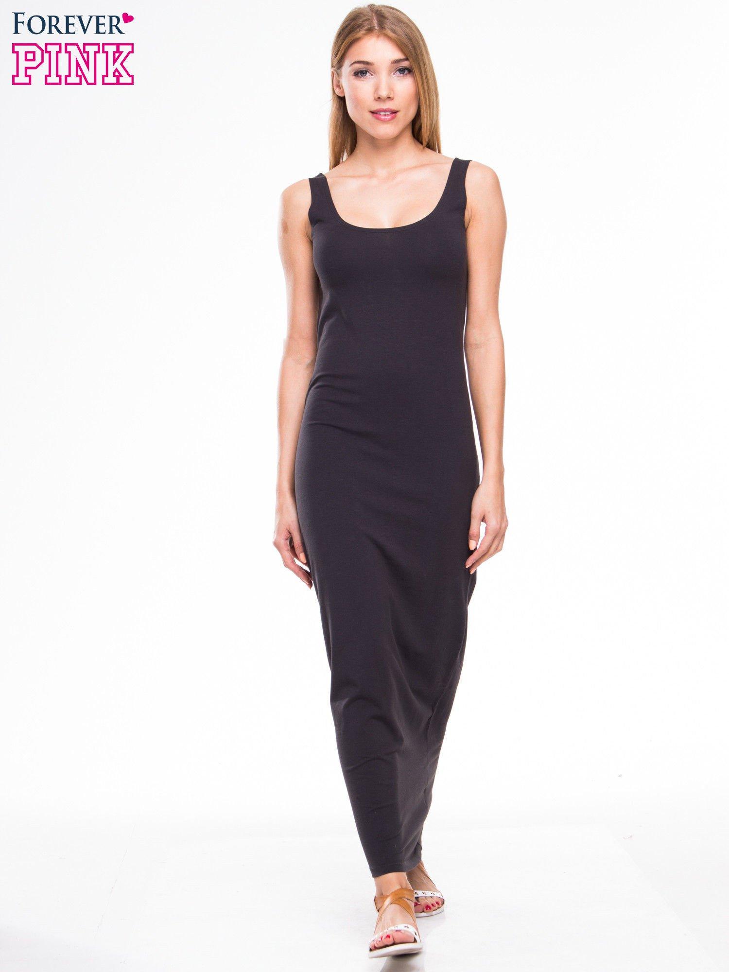 f2cee365 Ciemnoszara długa sukienka maxi na ramiączkach