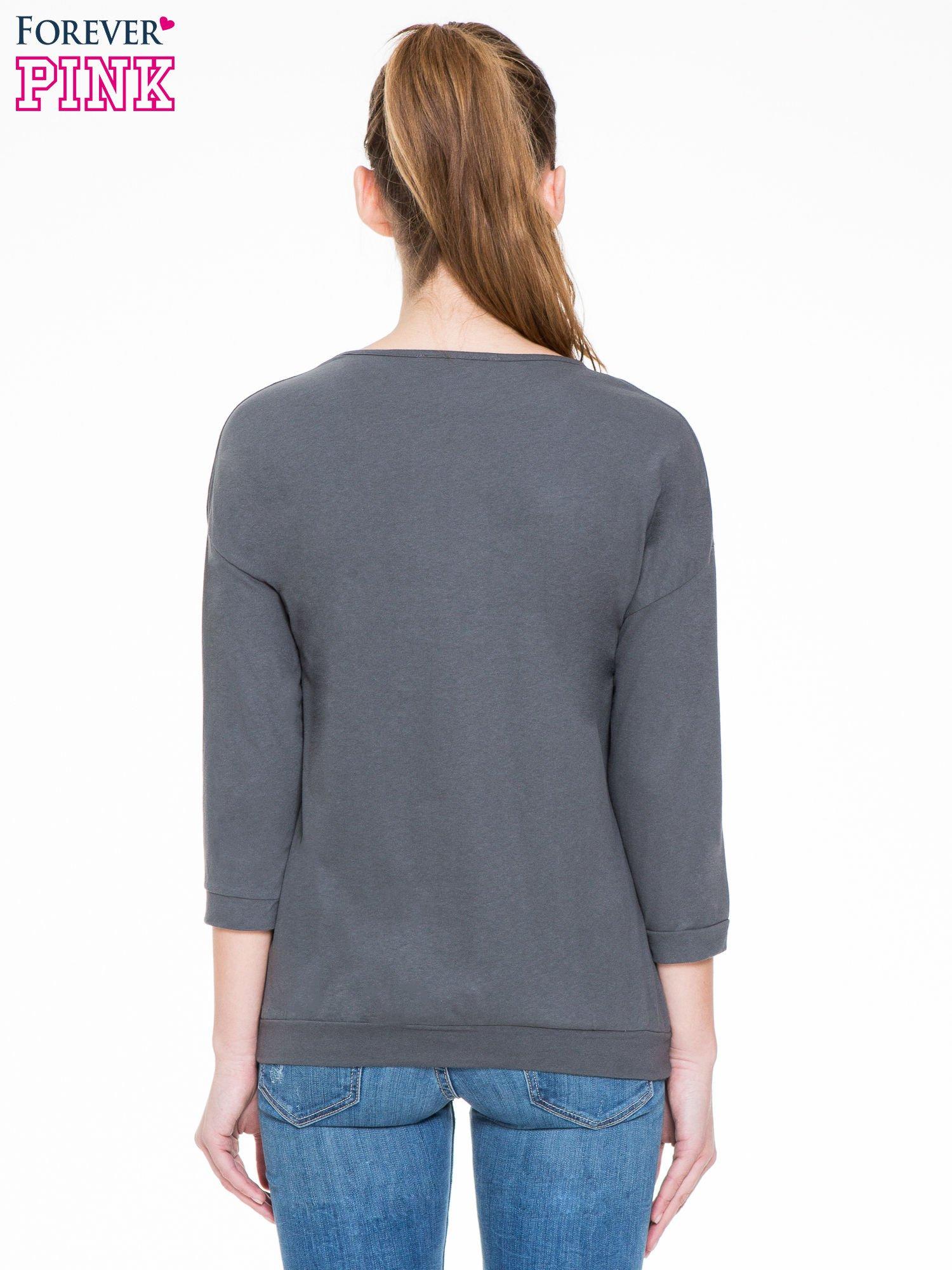 Ciemnoszara gładka bluzka z luźnymi rękawami 3/4                                  zdj.                                  4