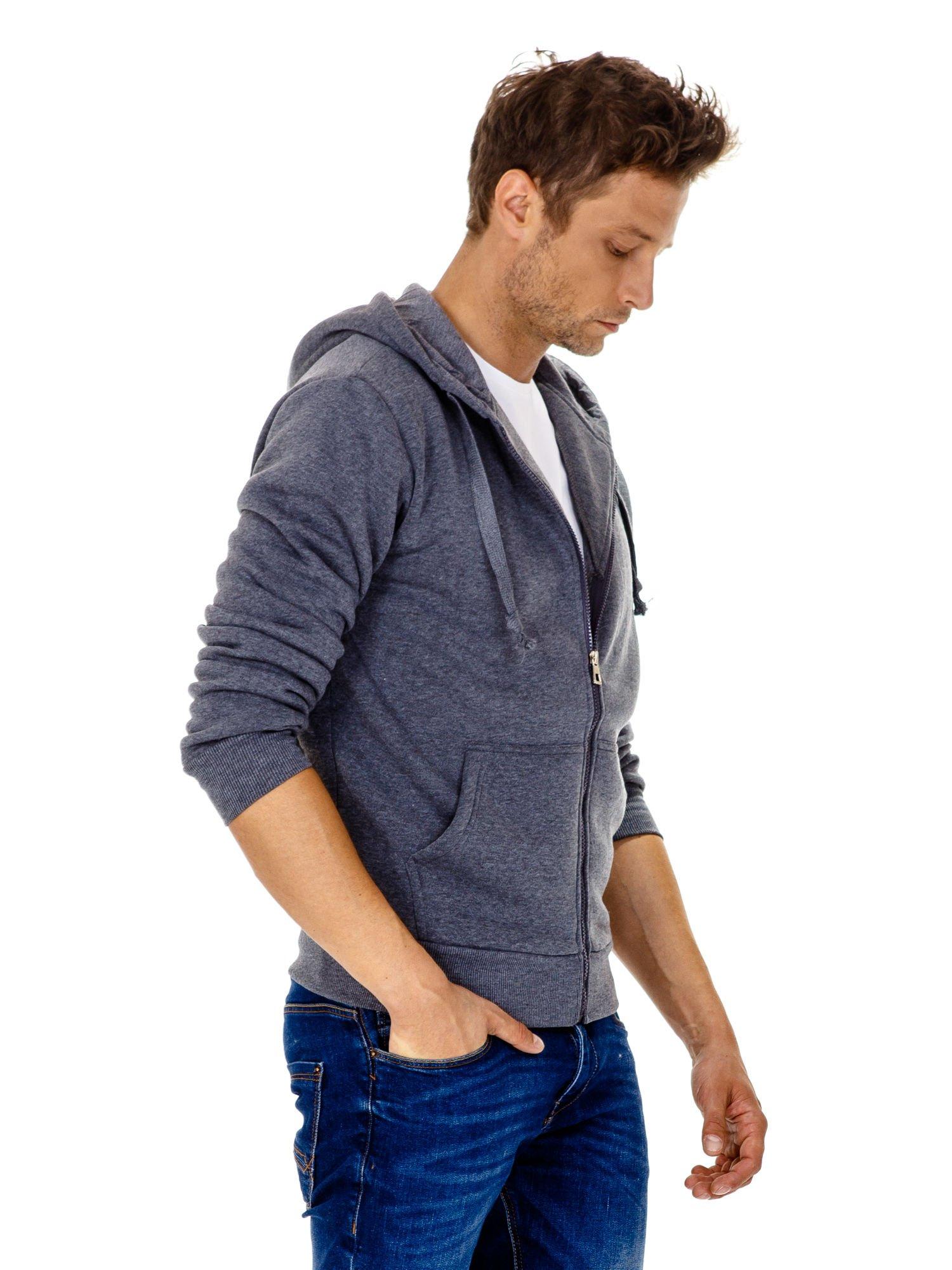Ciemnoszara gruba bluza męska z kapturem i kieszeniami                                  zdj.                                  4