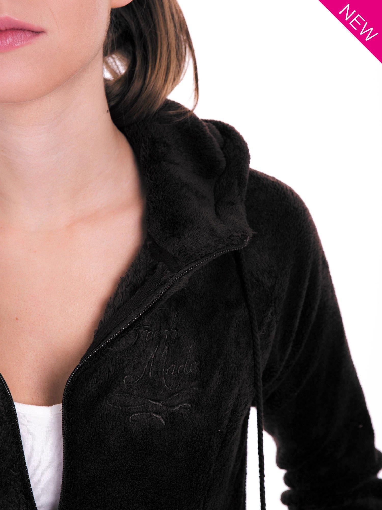 Ciemnoszara pluszowa bluza z kapturem z uszkami i pomponami                                  zdj.                                  9