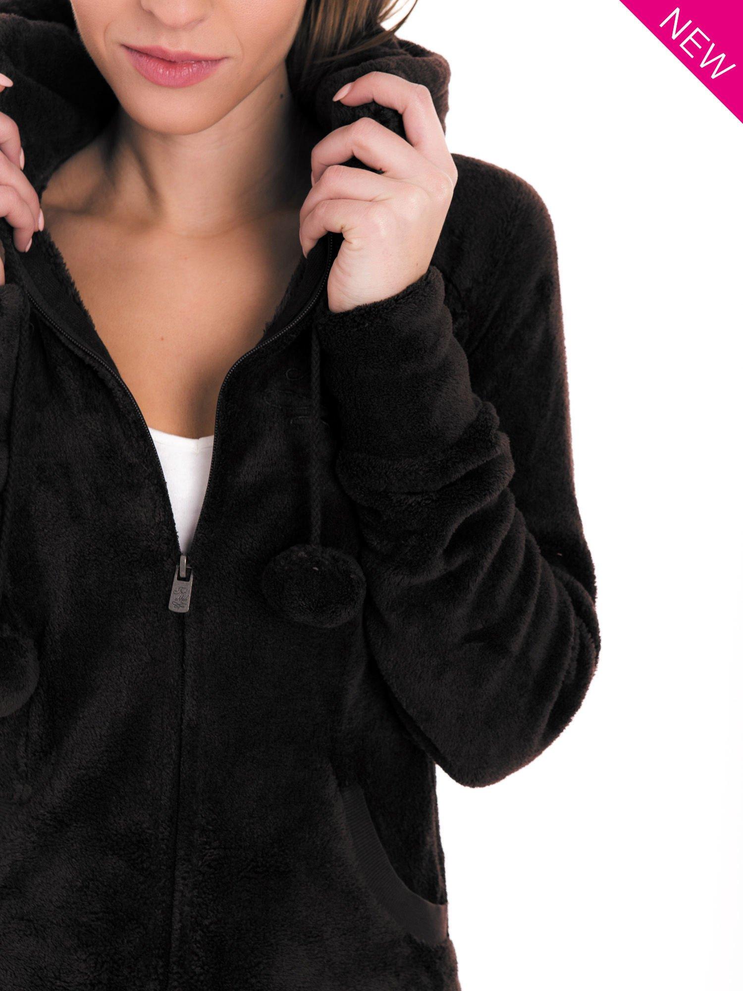 Ciemnoszara pluszowa bluza z kapturem z uszkami i pomponami                                  zdj.                                  10