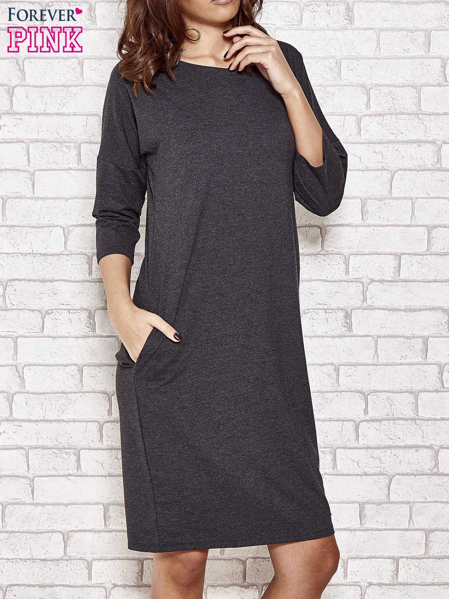 b451919eac Ciemnoszara prosta sukienka dresowa - Sukienka na co dzień - sklep ...