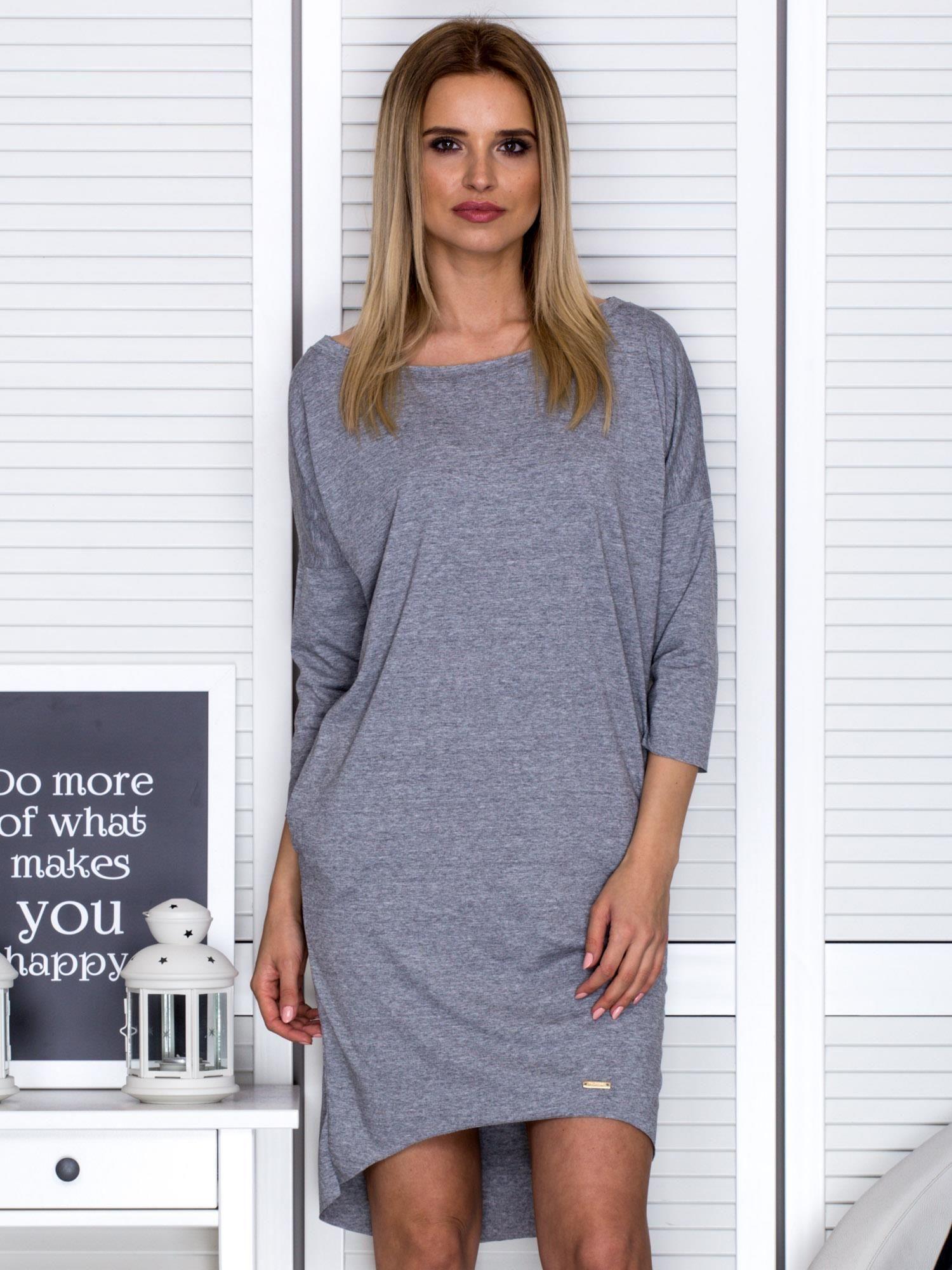 809e5364c9 Ciemnoszara sukienka o kroju oversize - Sukienka dzianinowa - sklep  eButik.pl