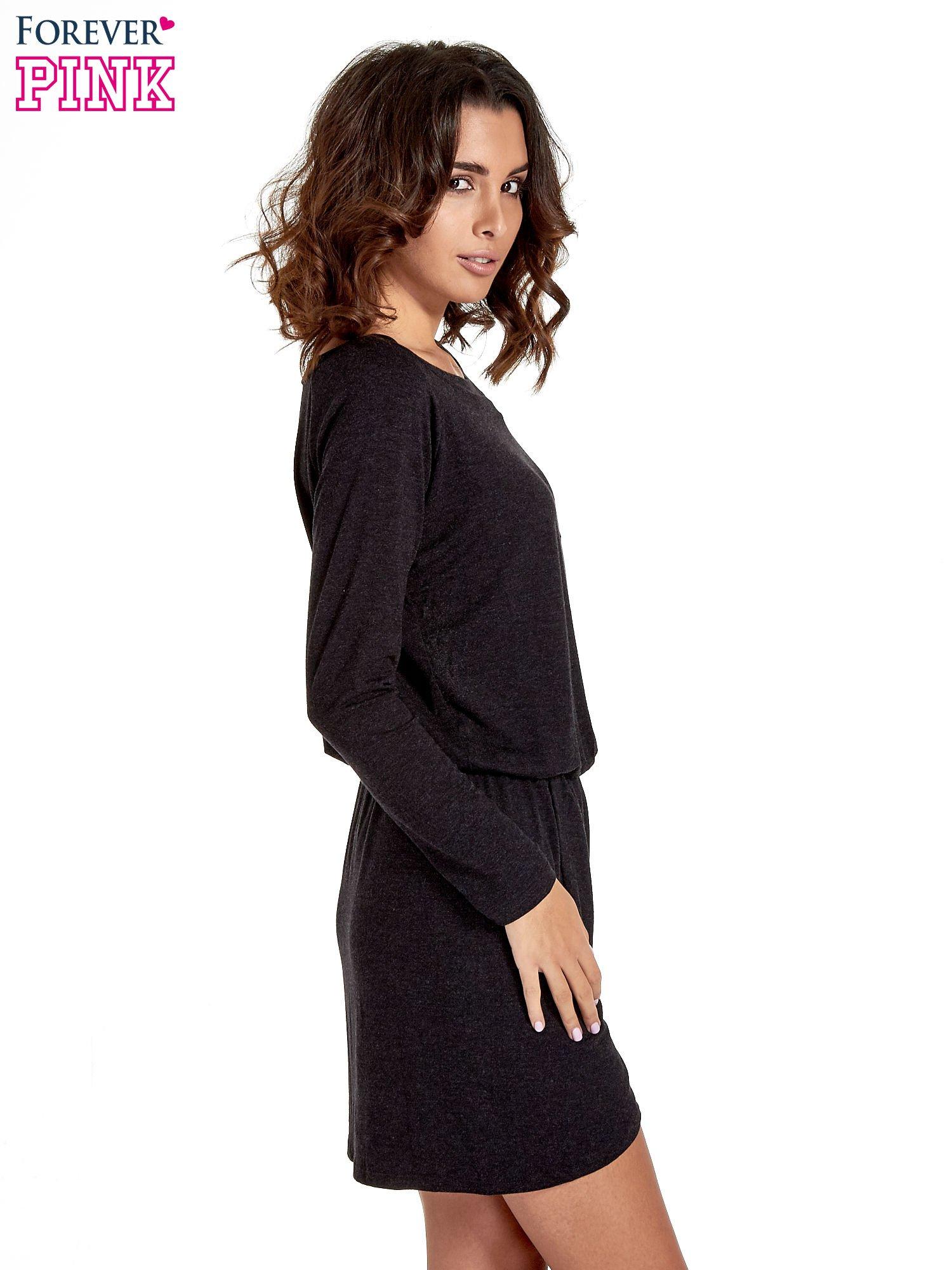 Ciemnoszara sukienka z rozcięciem                                  zdj.                                  3