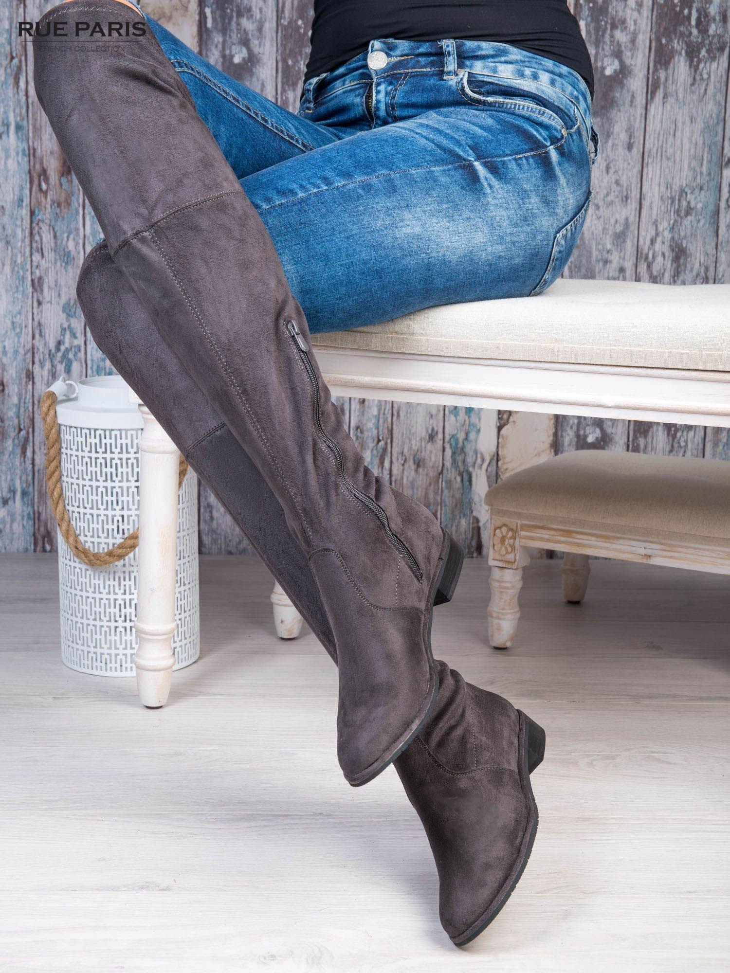 01bfeee39fad1 1 · Ciemnoszare zamszowe kozaki faux suede za kolana wiązane na sznurek nad  kolanem ...