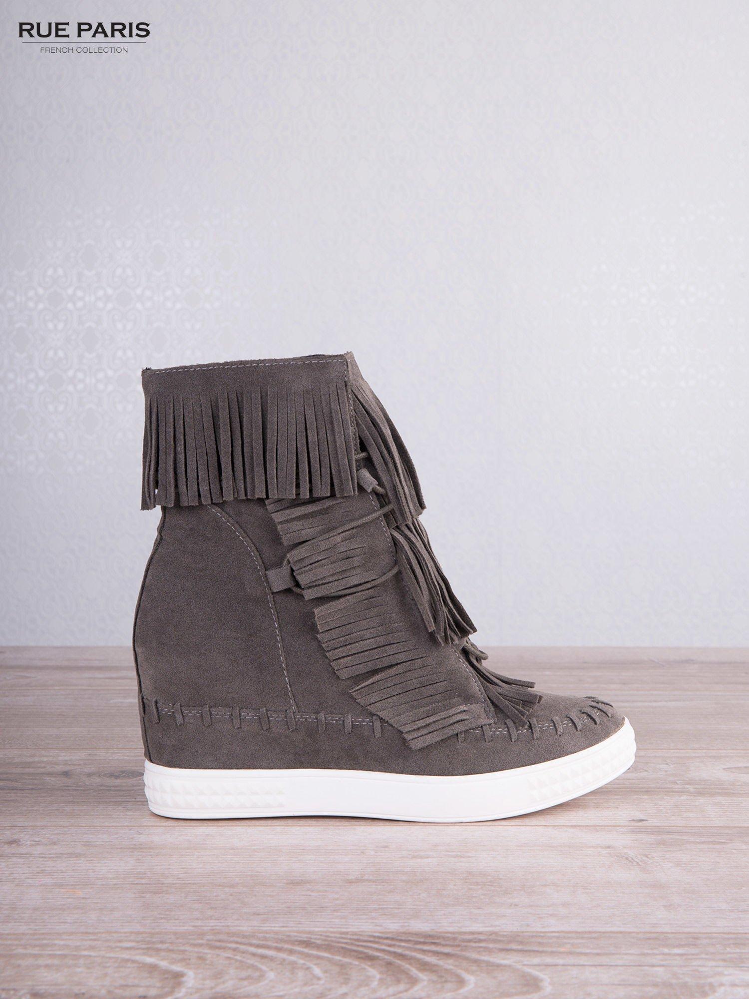 Ciemnoszare zamszowe sneakersy Aravia z frędzelkami na koturnach                                  zdj.                                  2