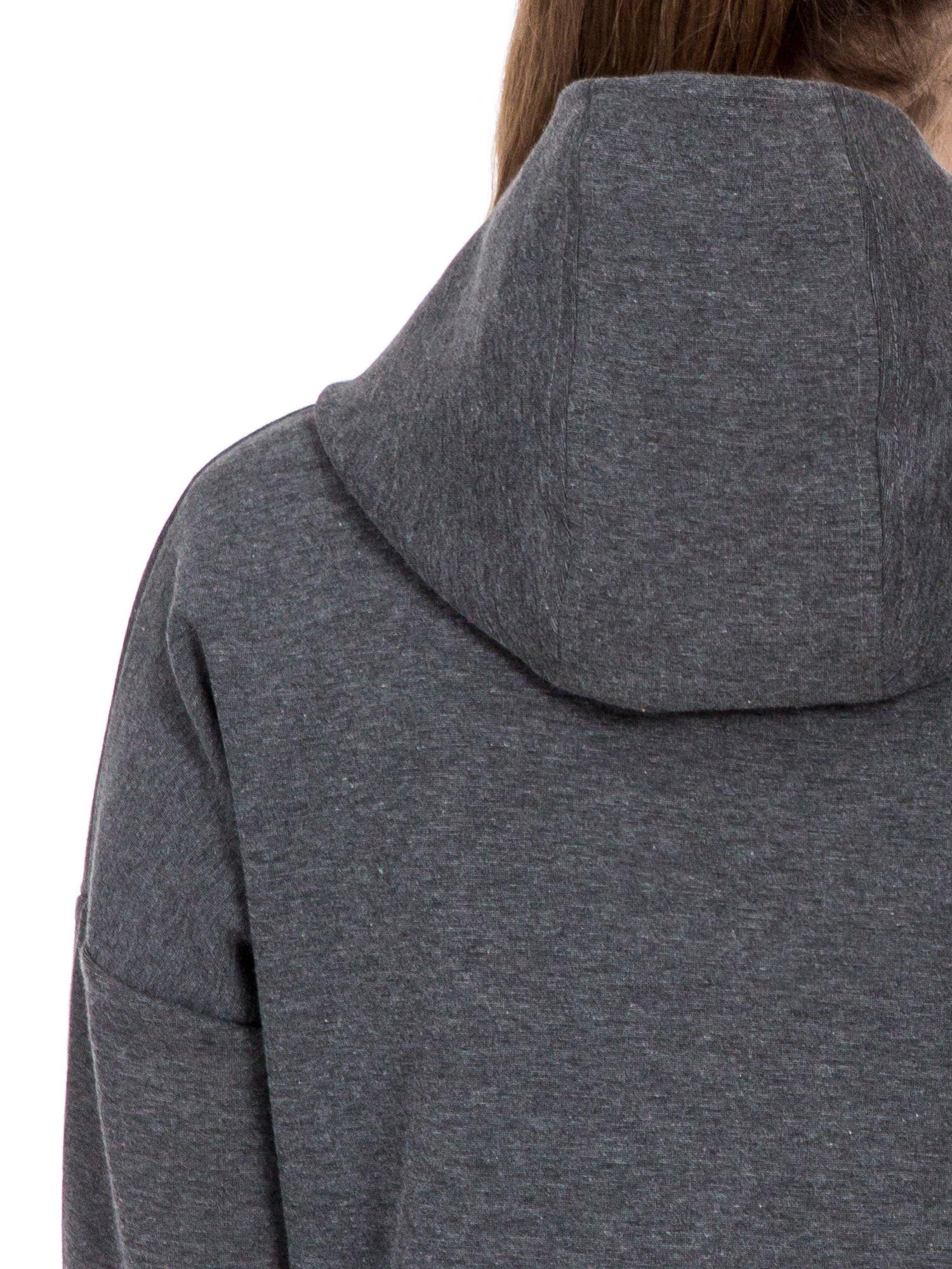 Ciemnoszary dresowy płaszcz oversize z kapturem                                  zdj.                                  7