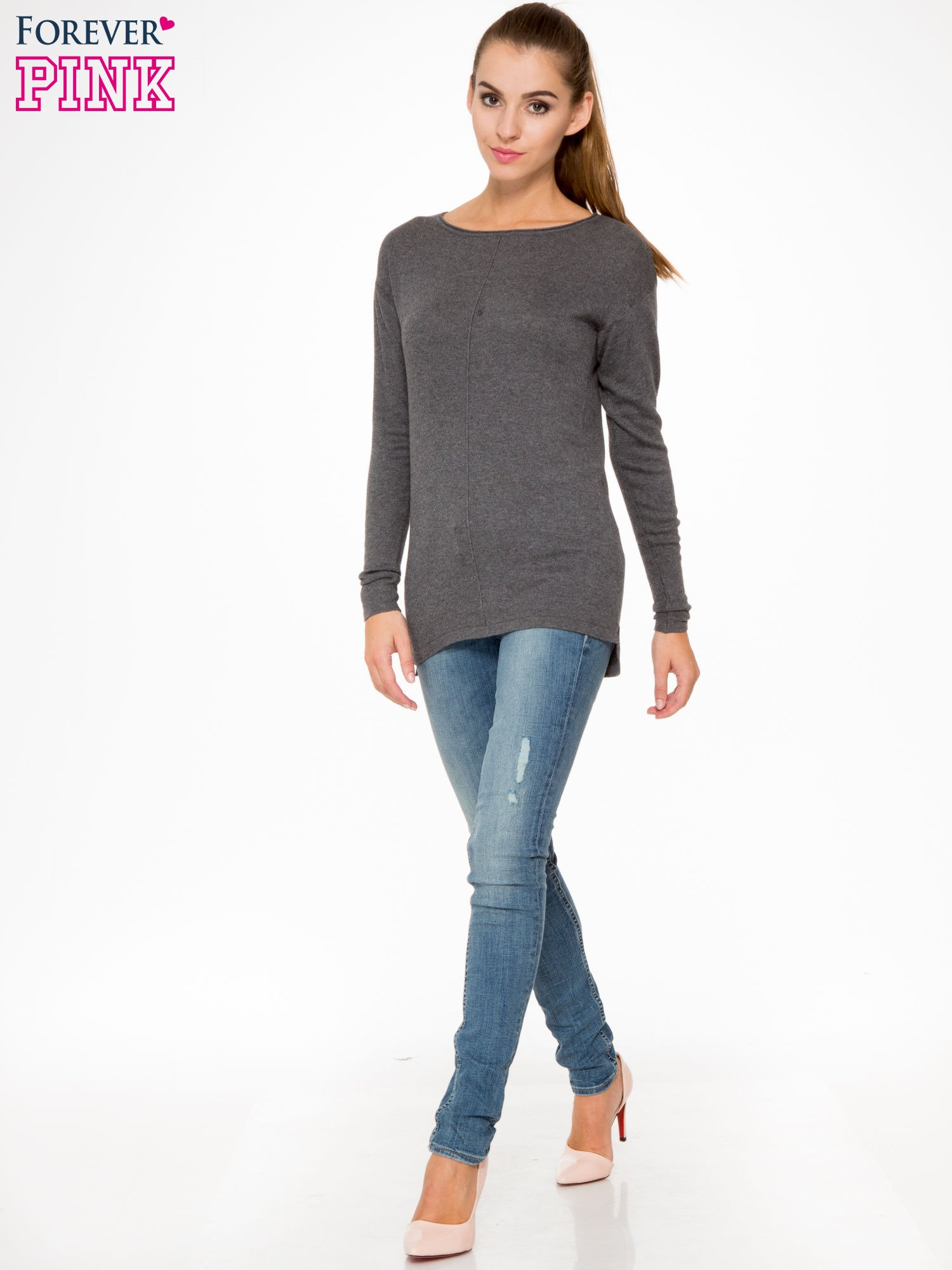 Ciemnoszary sweter z dłuższym tyłem i rozporkami po bokach                                  zdj.                                  2