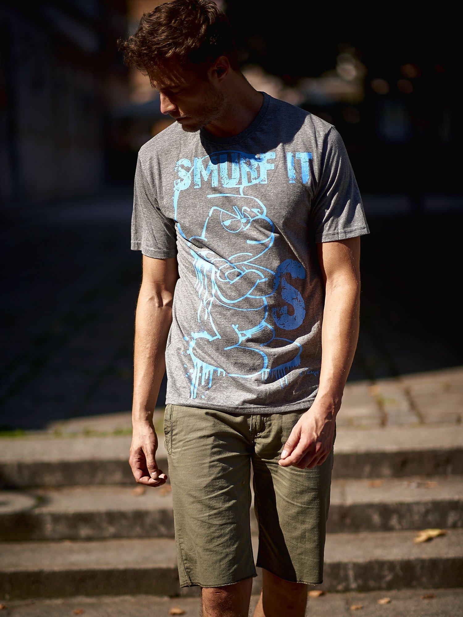 Ciemnoszary t-shirt męski SMERFY                                  zdj.                                  14