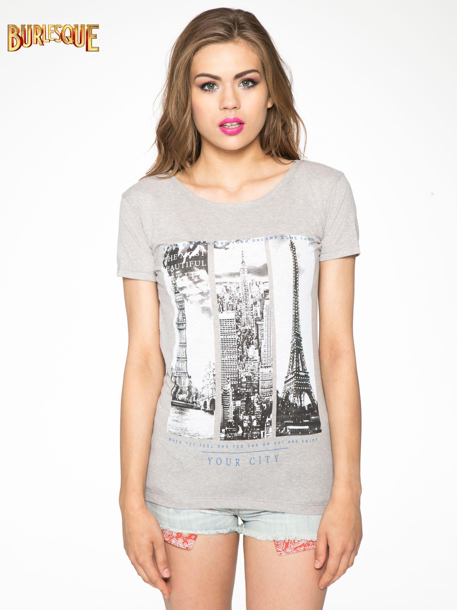 Ciemnoszary t-shirt z fotografiami miast                                  zdj.                                  12